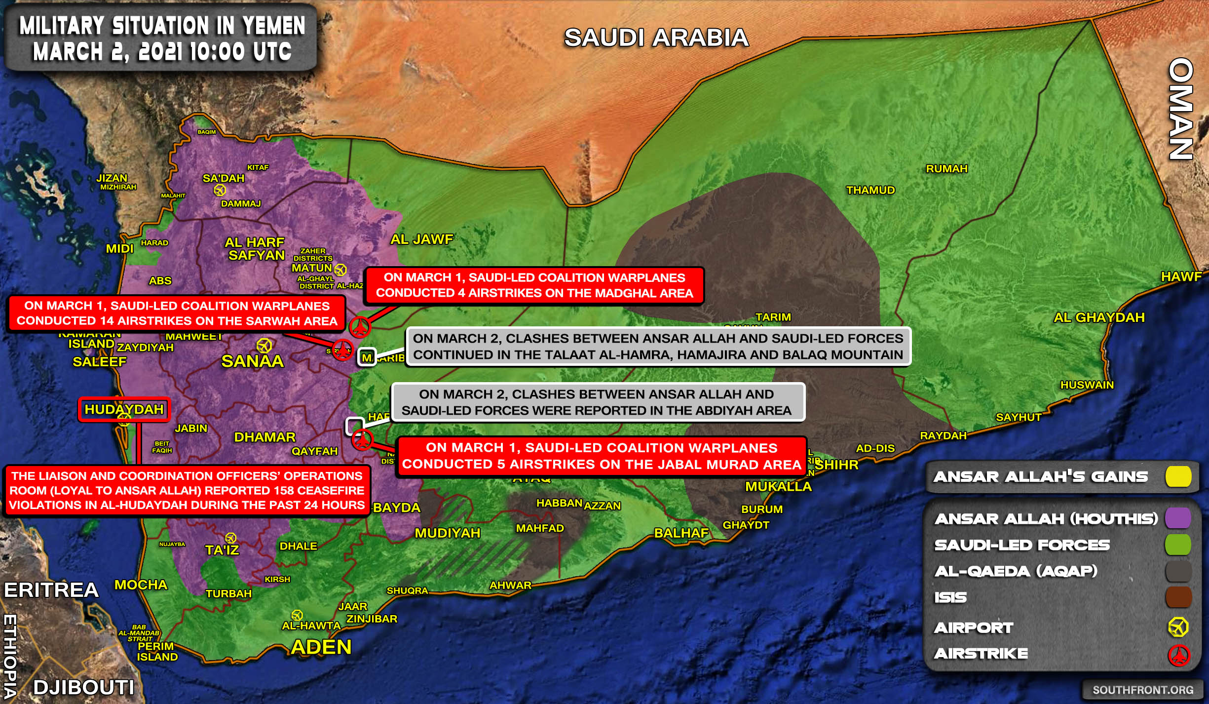 Military Situation In Yemen On March 2, 2021 (Map Update)