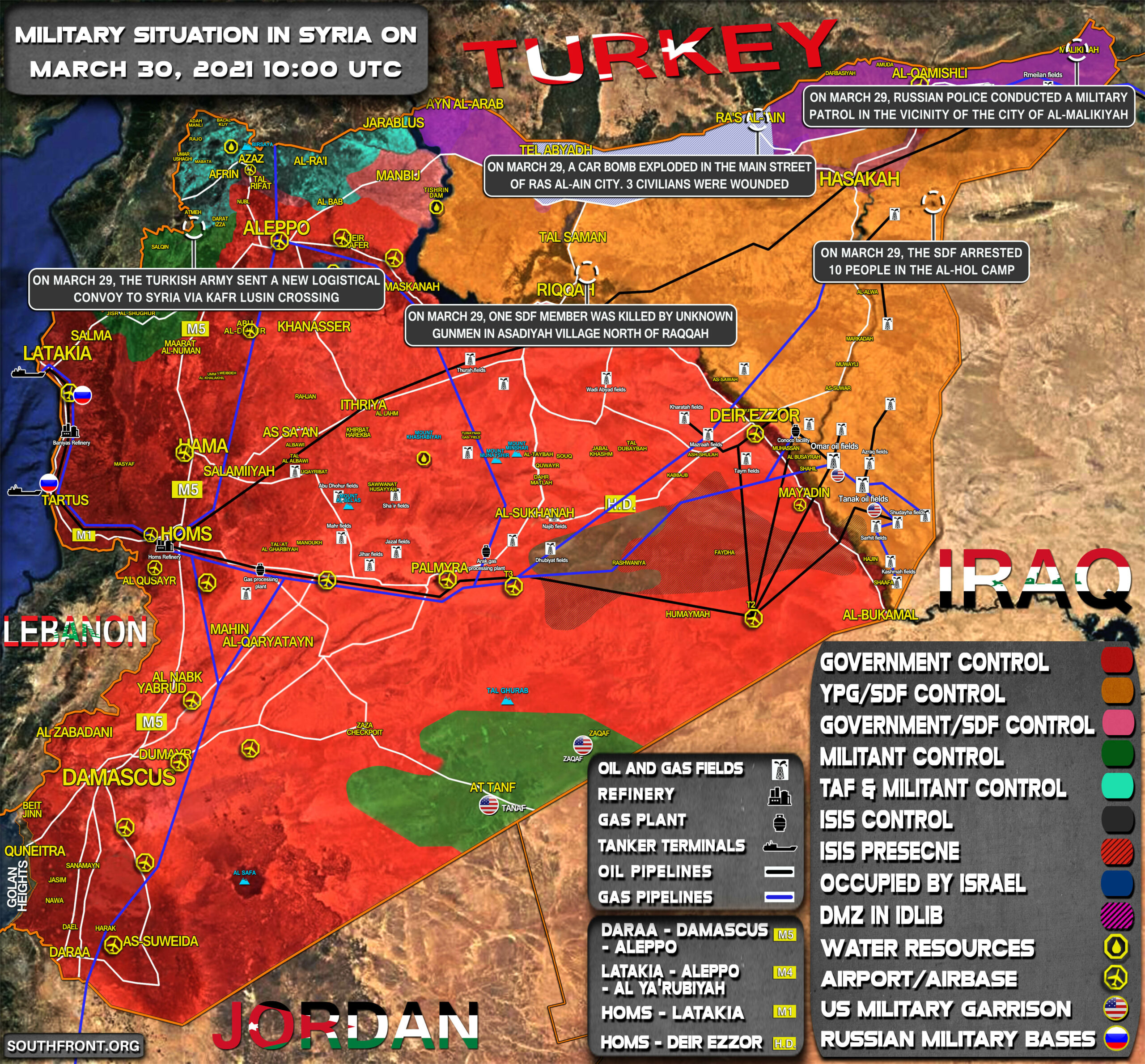 Military Situation In Syria On March 30, 2021 (Map Update)