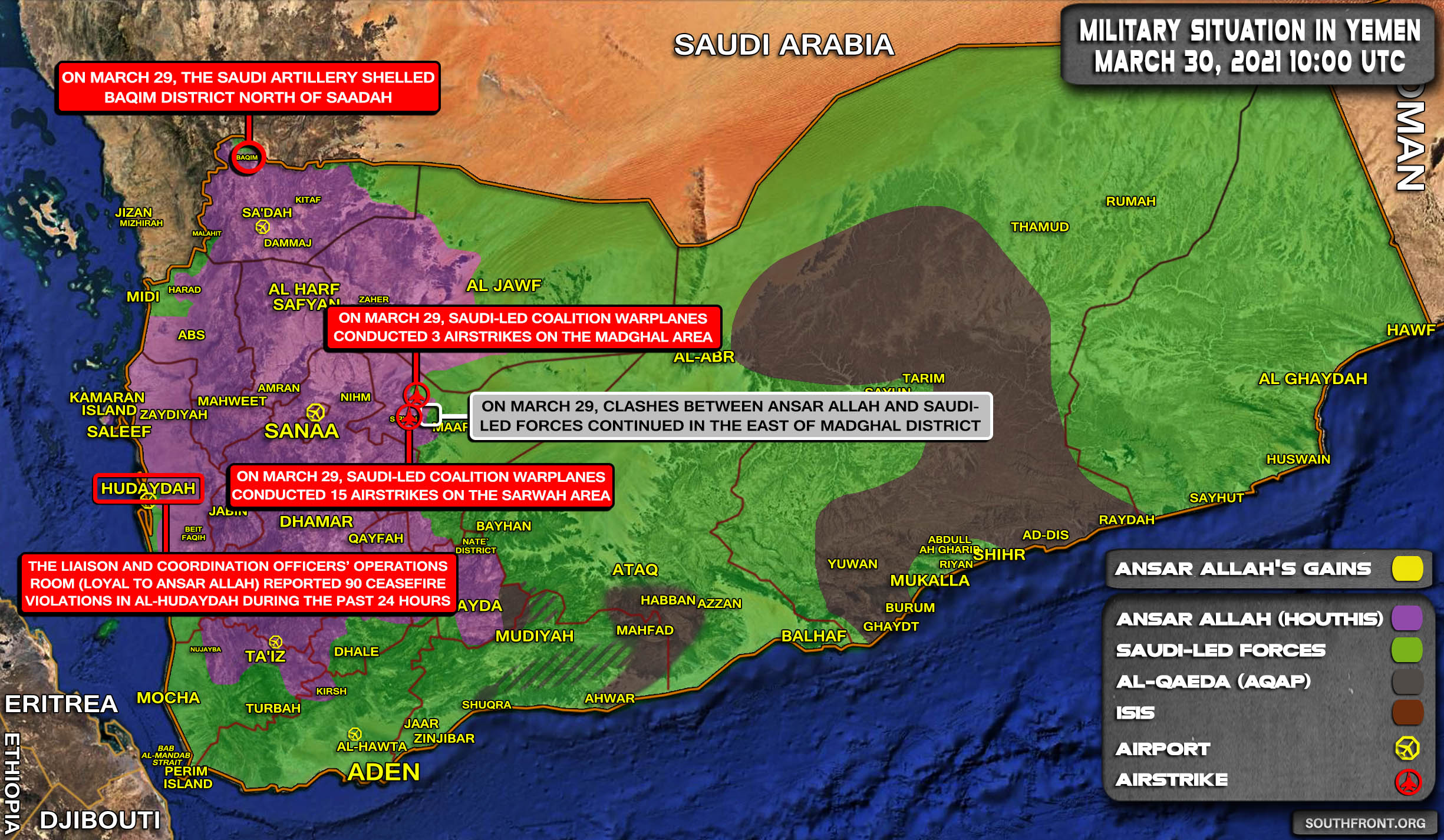 Military Situation In Yemen On March 30, 2021 (Map Update)