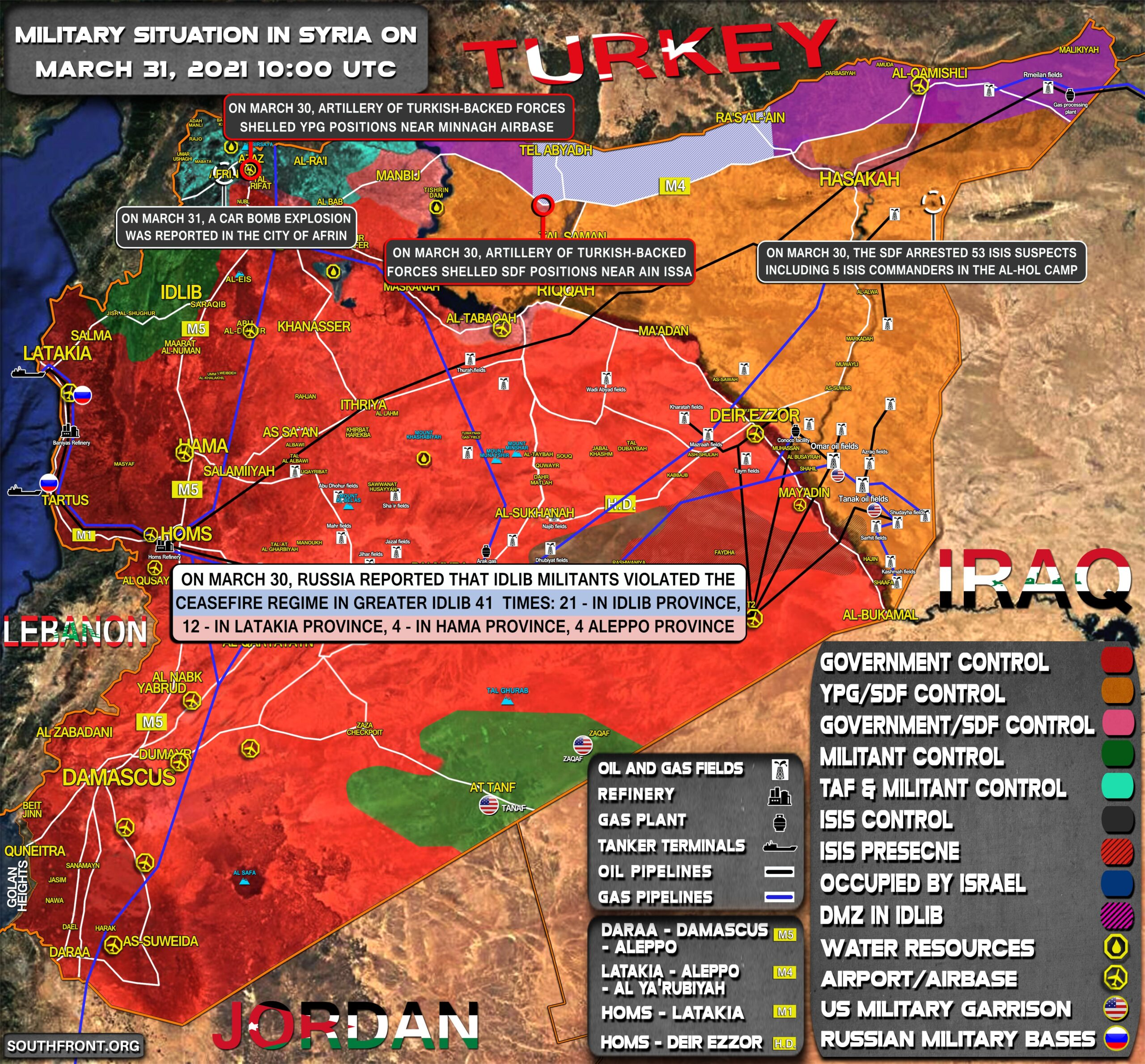 Military Situation In Syria On March 31, 2021 (Map Update)
