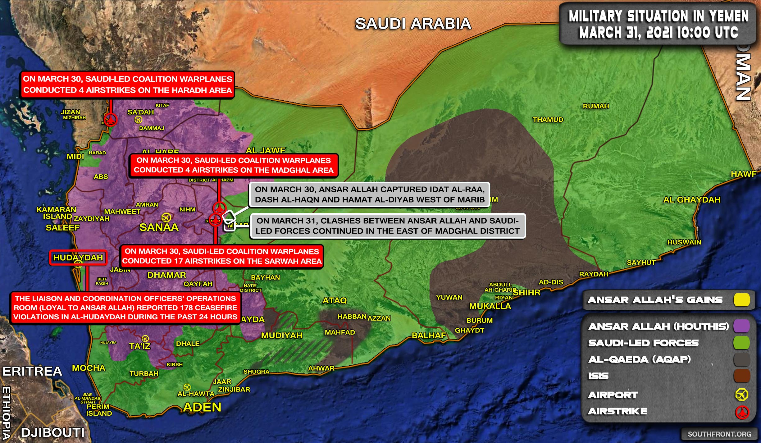 Military Situation In Yemen On March 31, 2021 (Map Update)