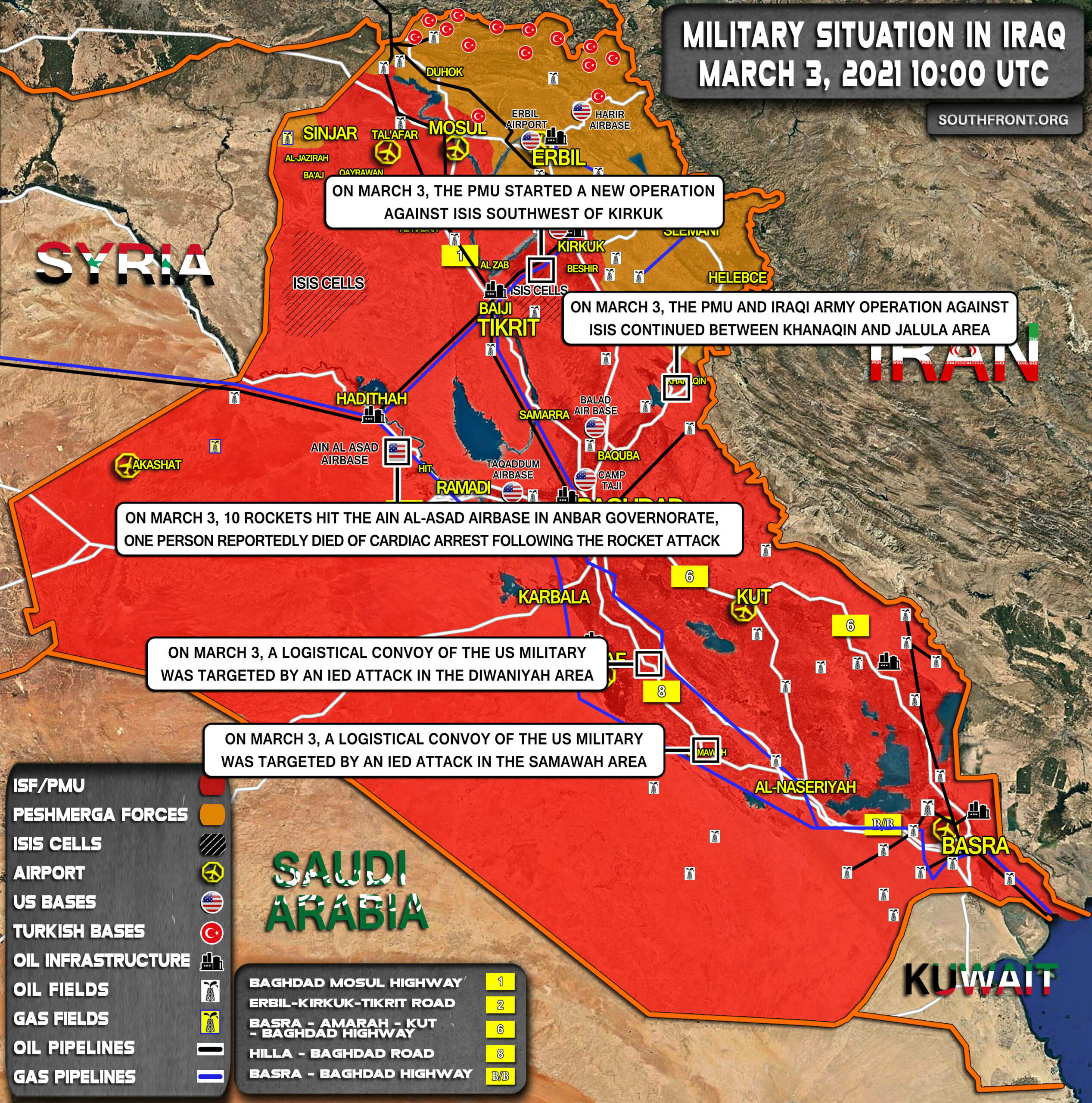 Military Situation In Iraq On March 3, 2021 (Map Update)