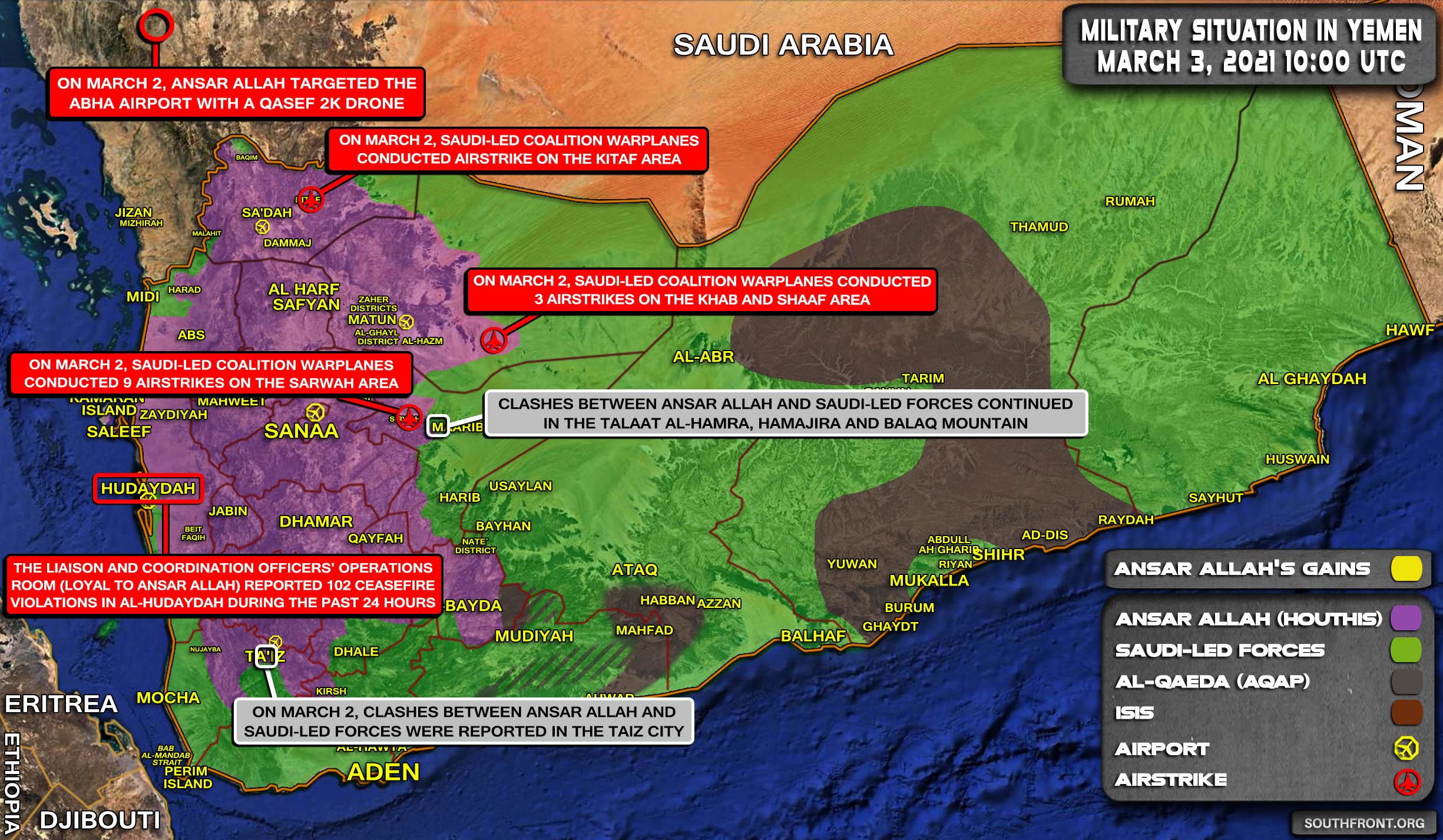 Military Situation In Yemen On March 3, 2021 (Map Update)