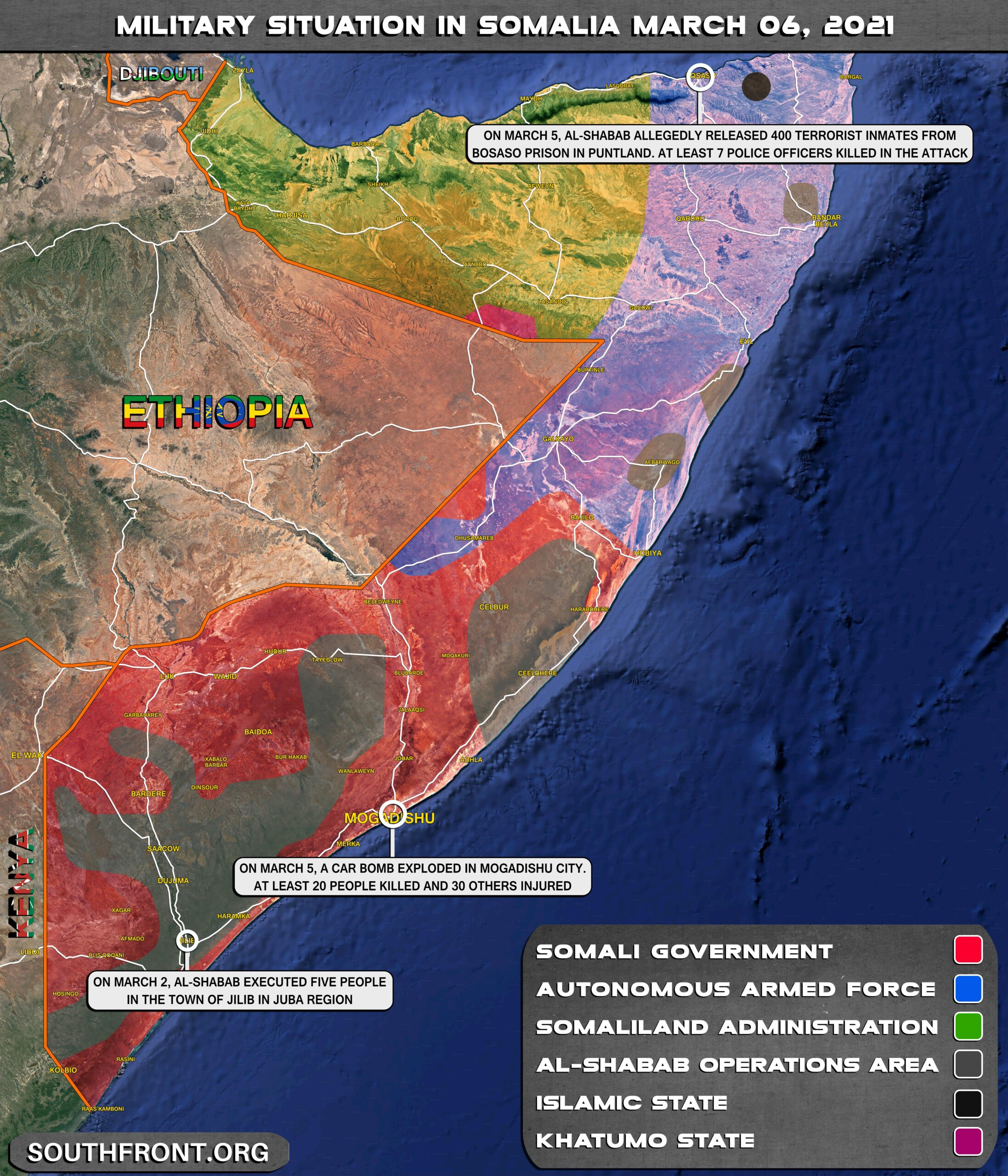 Military Situation In Somalia On March 6, 2021 (Map Update)