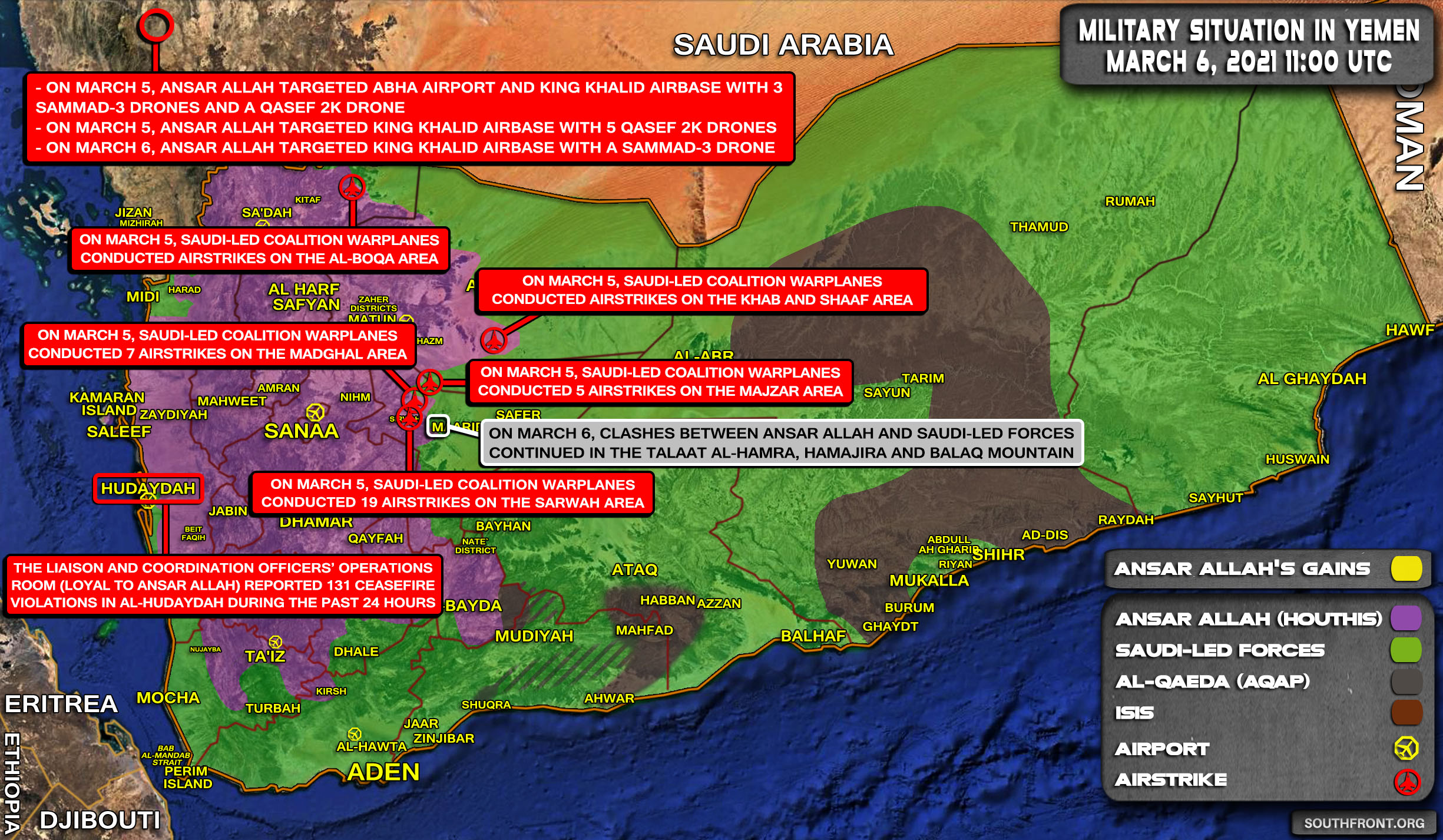 Military Situation In Yemen On March 6, 2021 (Map Update)
