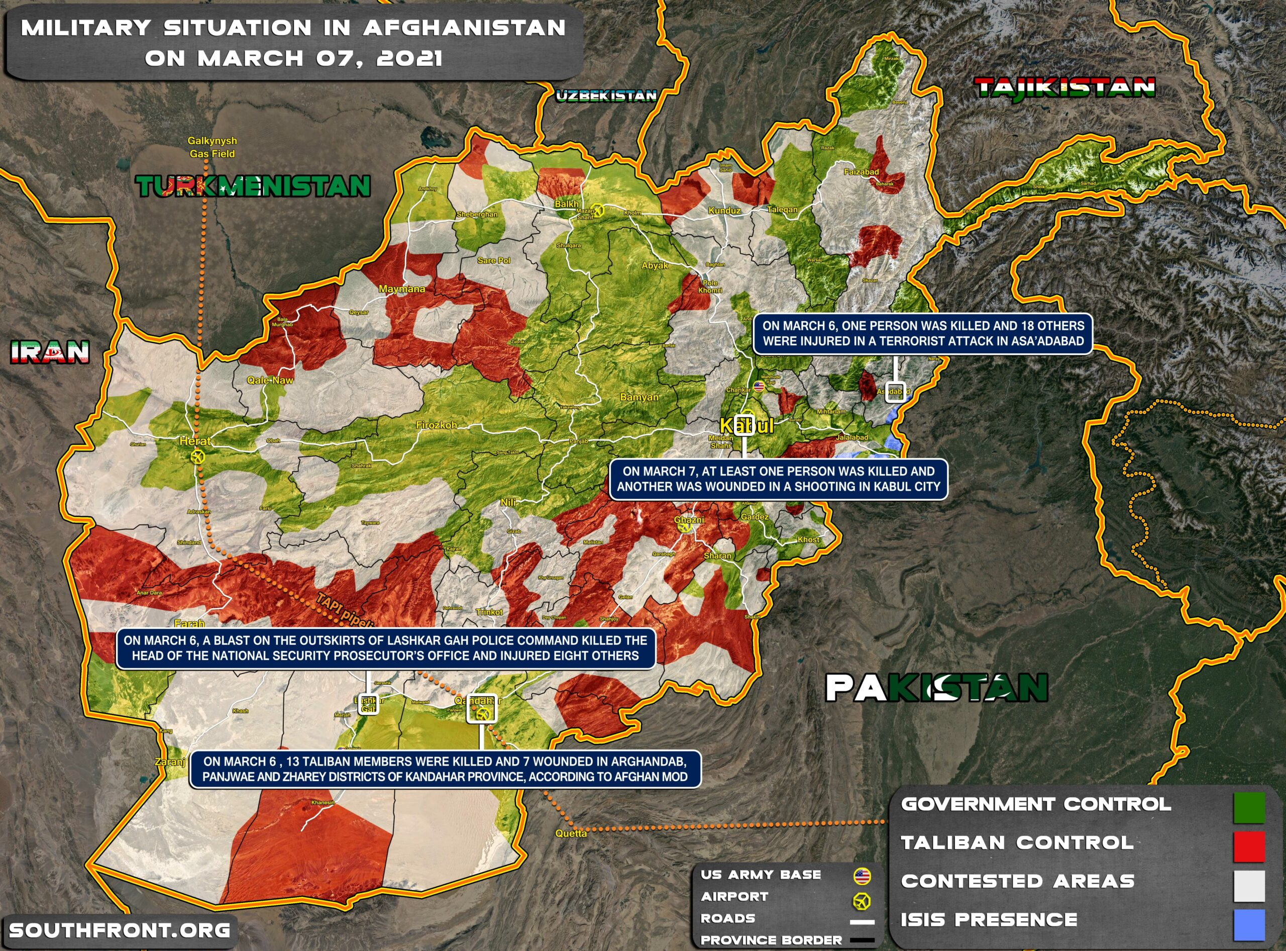 Military Situation In Afghanistan On March 7, 2021 (Map Update)