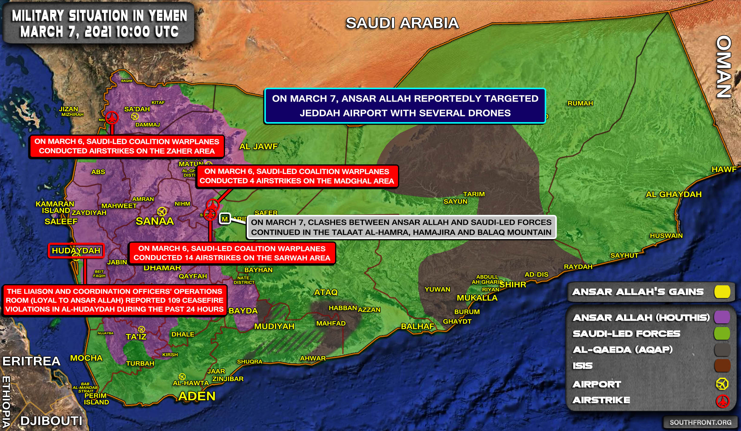 Military Situation In Yemen On March 7, 2021 (Map Update)