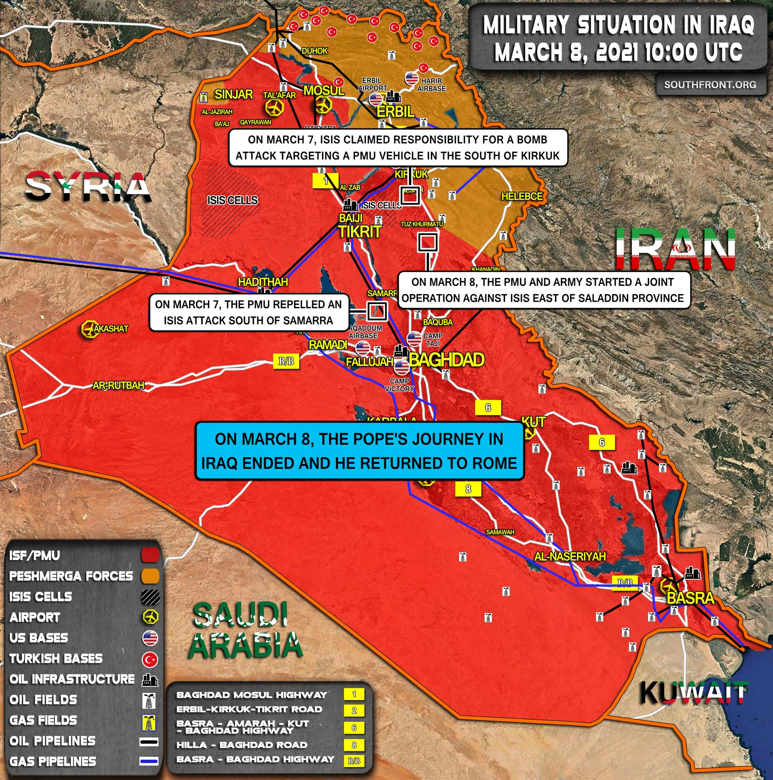Military Situation In Iraq On March 8, 2021 (Map Update)