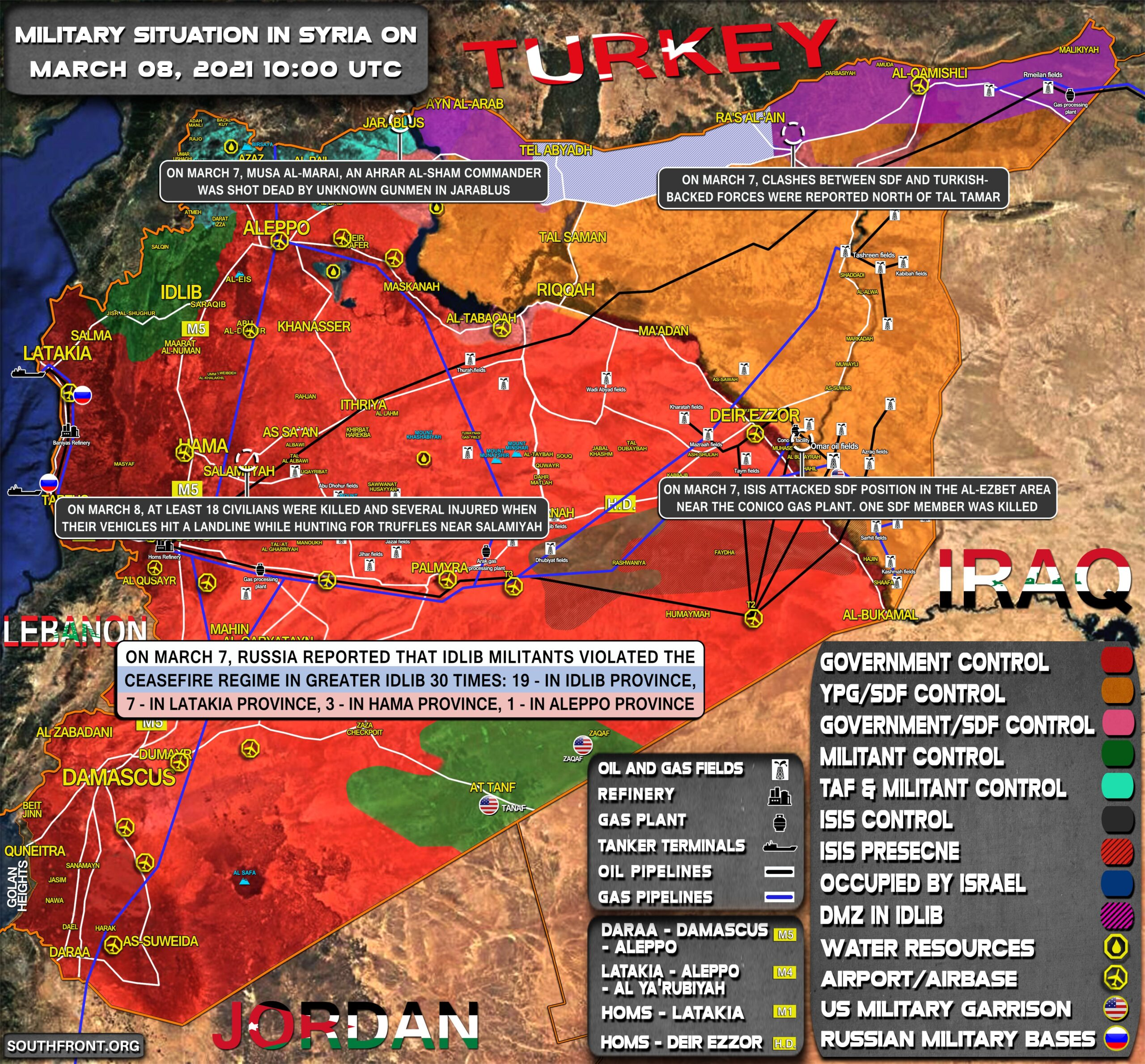 Military Situation In Syria On March 8, 2021 (Map Update)
