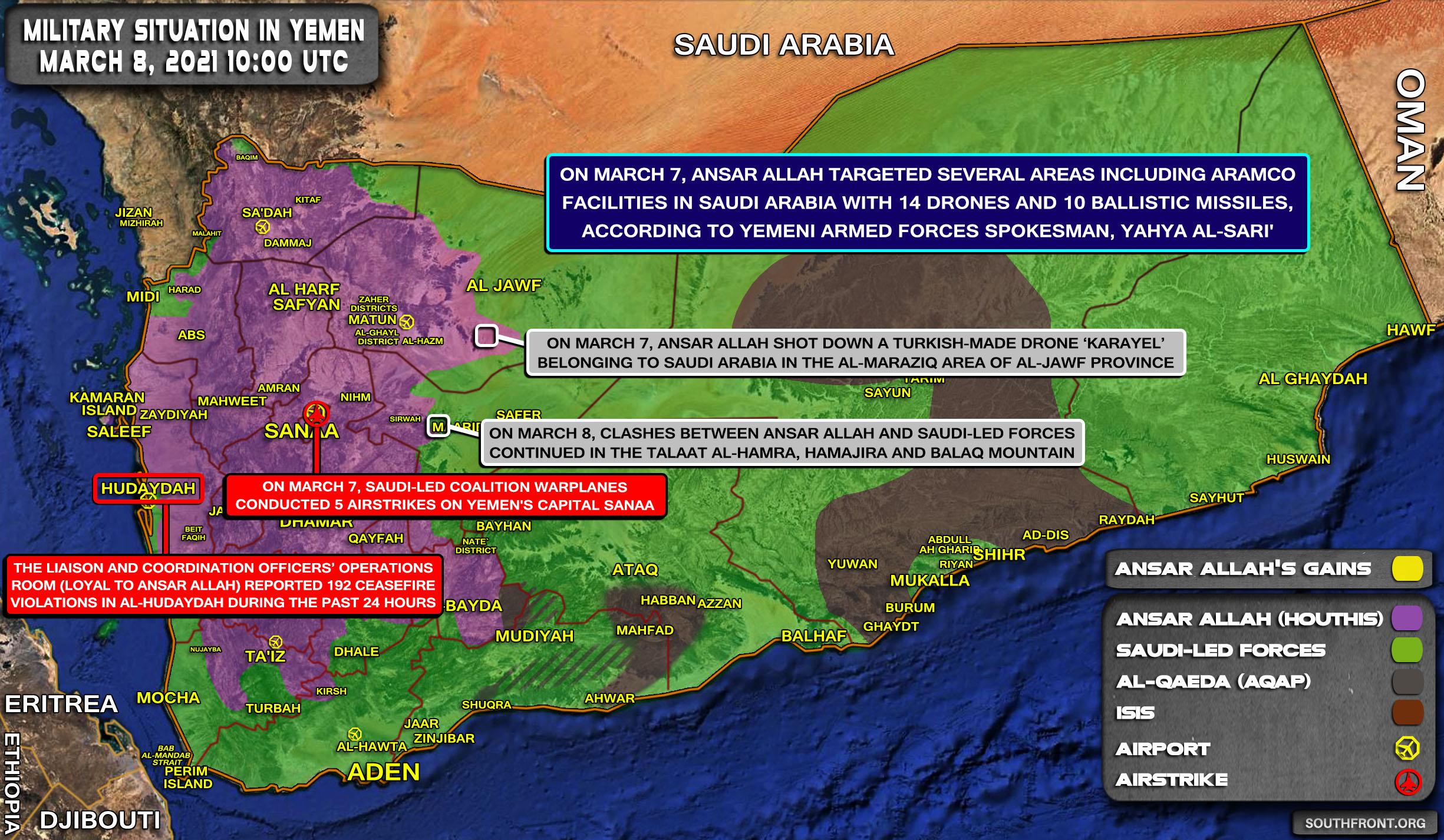 Saudi Arabia Strikes Yemen's Capital Sana'a In Response To Houthi Offensive (Map Update)