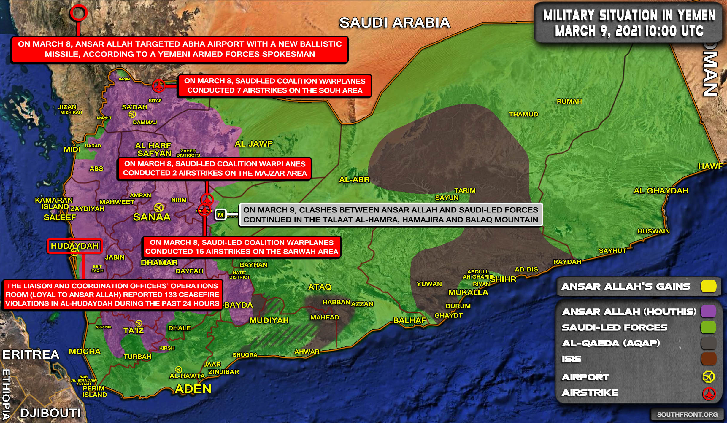 Saudi-led Coalition Continues Heavy Airstrikes Activity, Fight For Marib Continues (Map Update)
