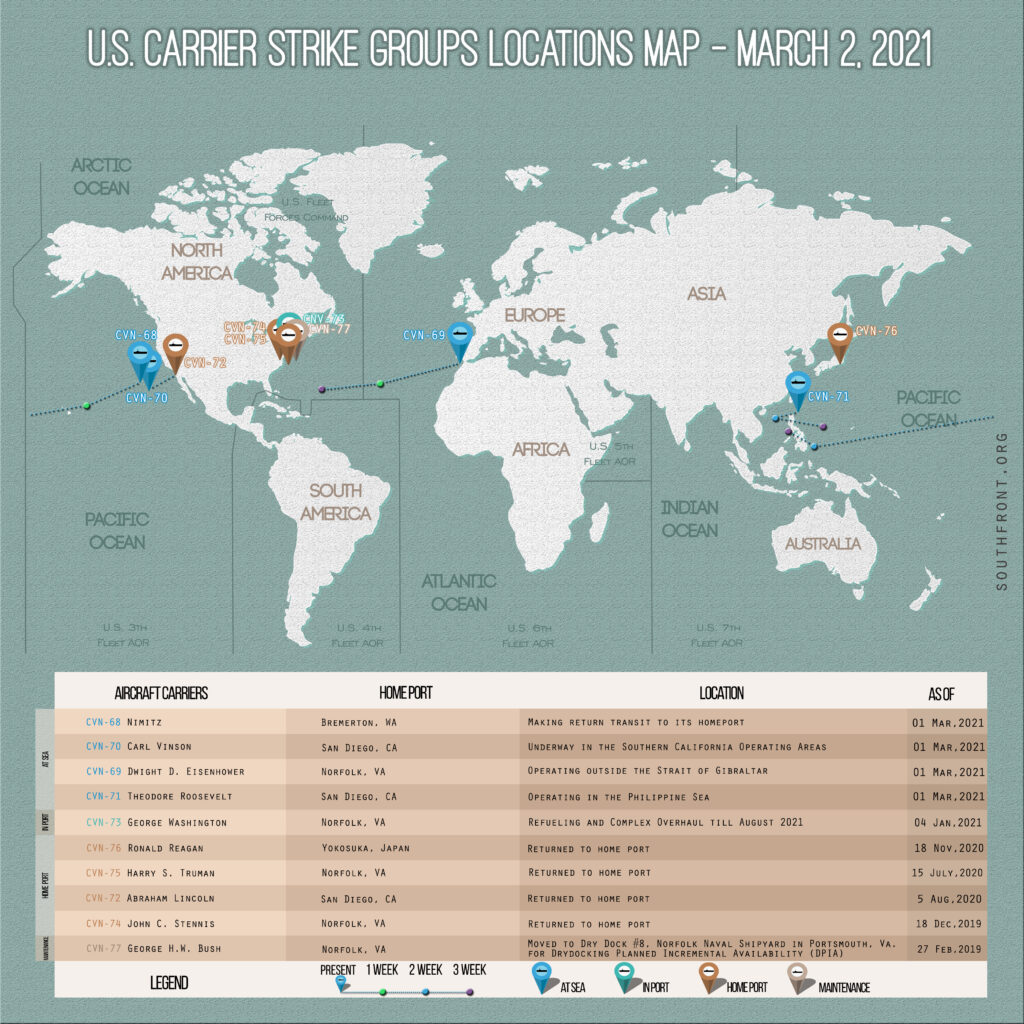 Locations Of US Carrier Strike Groups – March 2, 2020