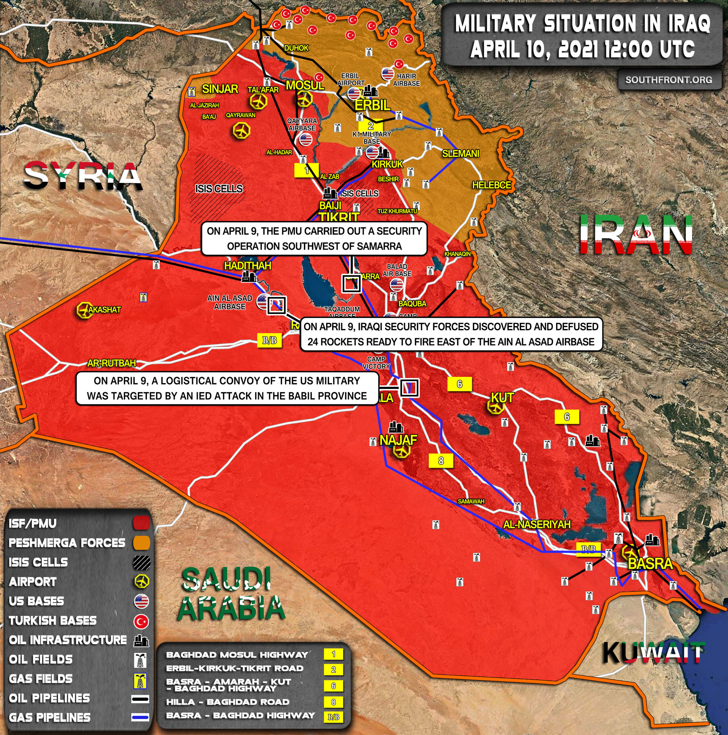 Military Situation In Iraq On April 10, 2021 (Map Update)
