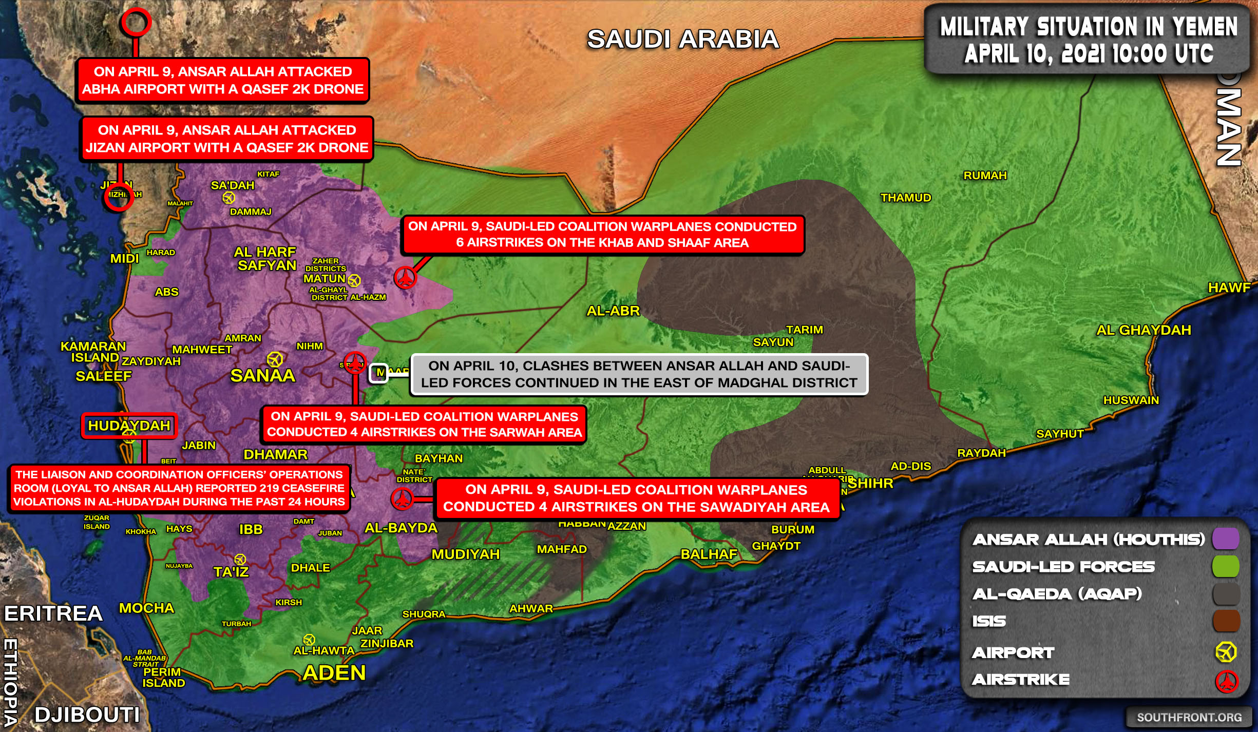 Military Situation In Yemen On April 10, 2021 (Map Update)
