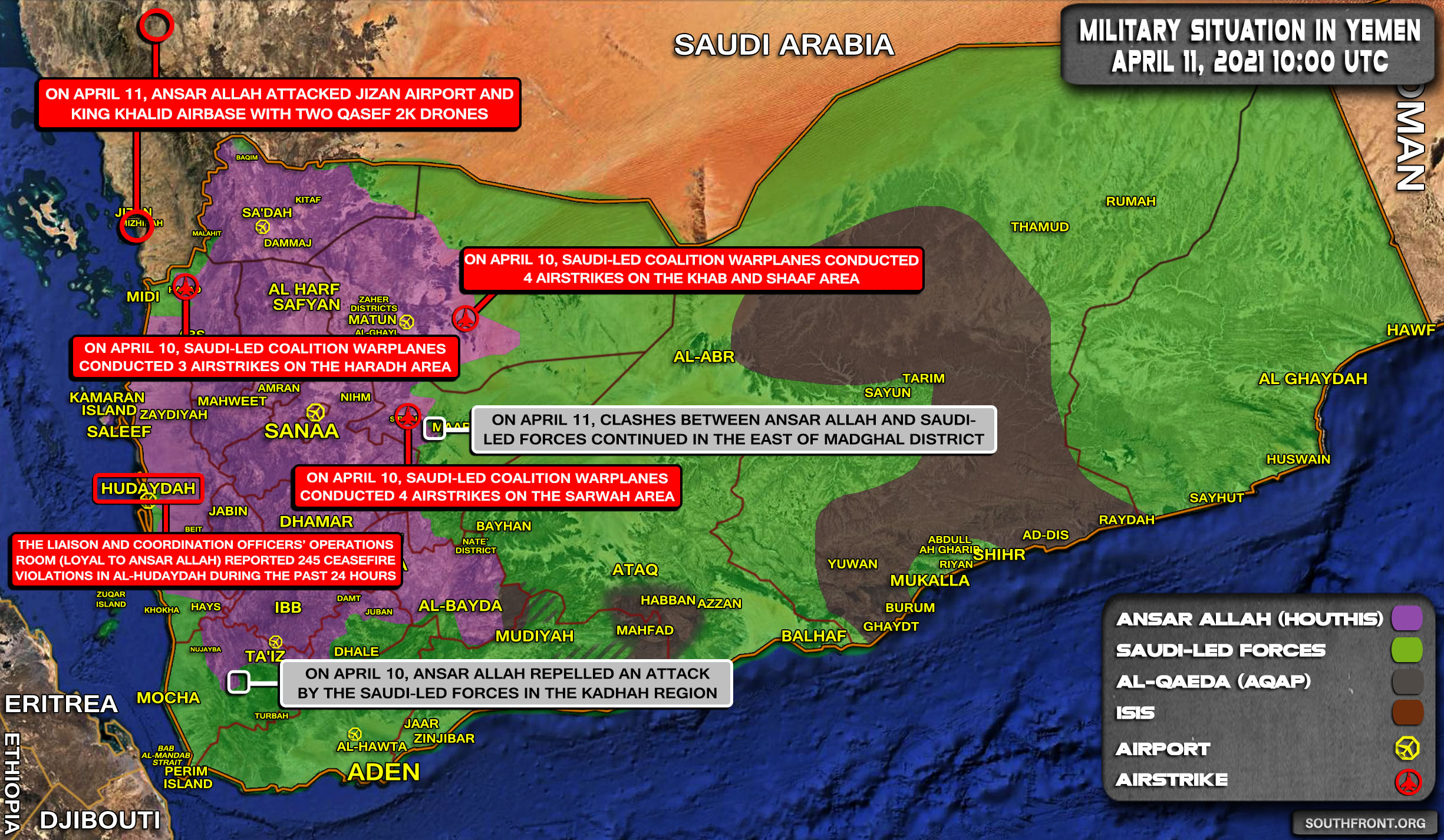 Military Situation In Yemen On April 11, 2021 (Map Update)