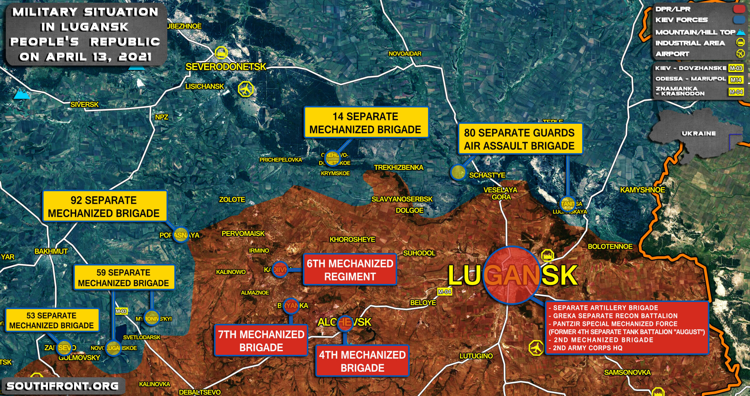 Positions Of Forces Around And In Lugansk People's Republic In Eastern Ukraine (Map Update)