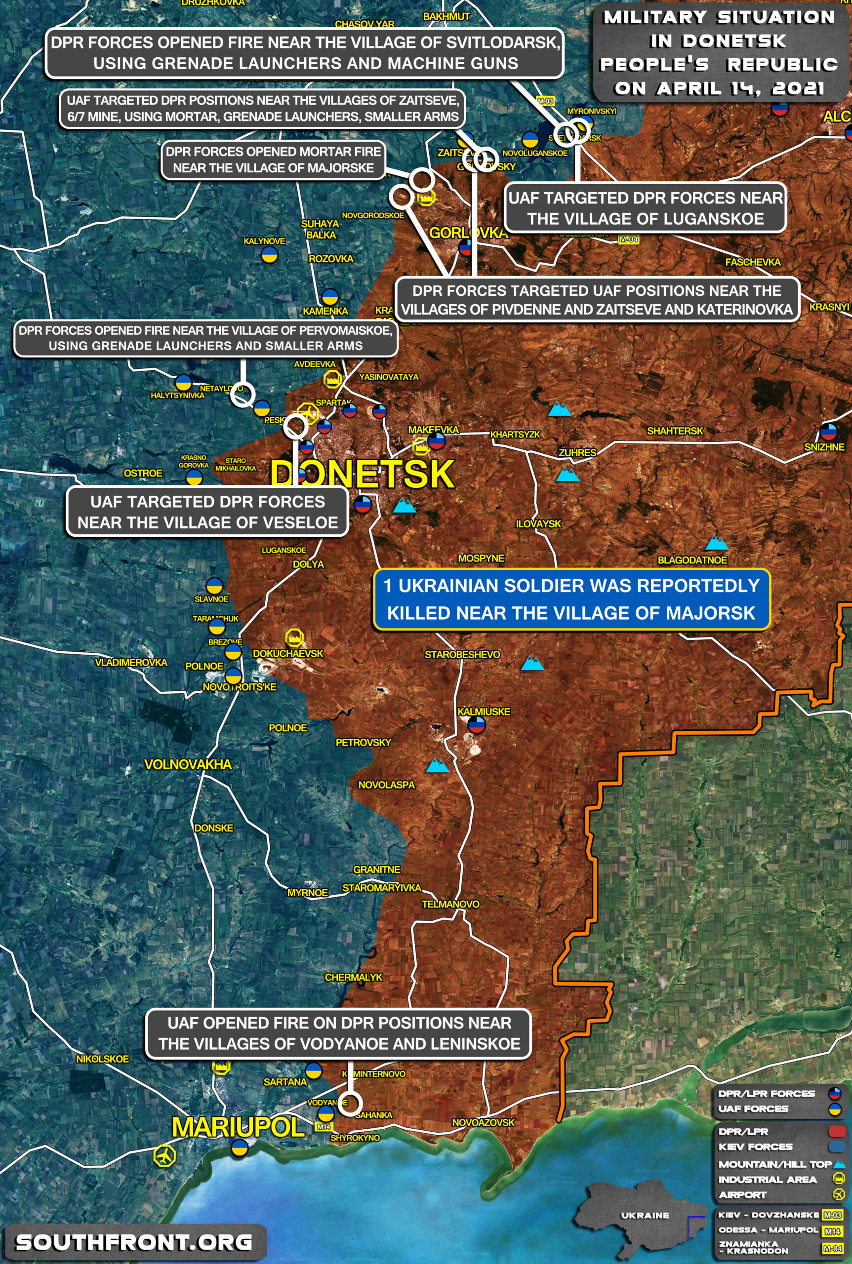 Military Situation In Donetsk People's Republic On April 14, 2021 (Map Update)