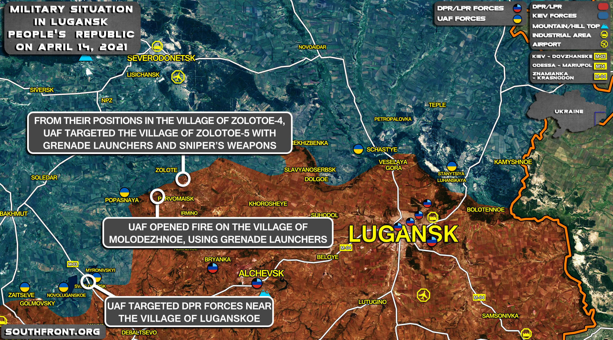 Military Situation In Lugansk People's Republic On April 14, 2021 (Map Update)