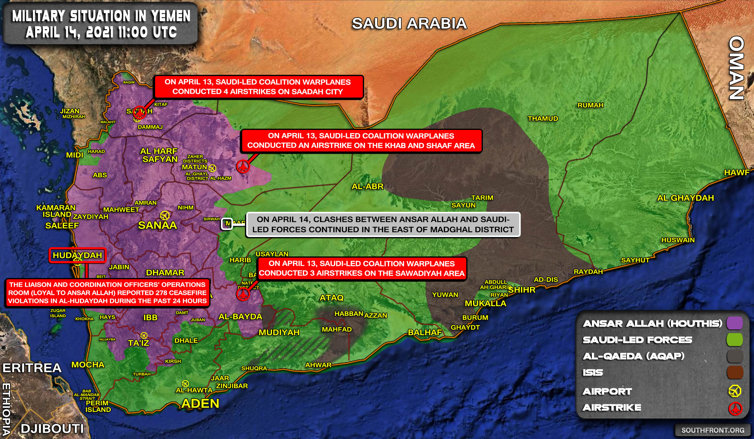 Military Situation In Yemen On April 14, 2021 (Map Update)