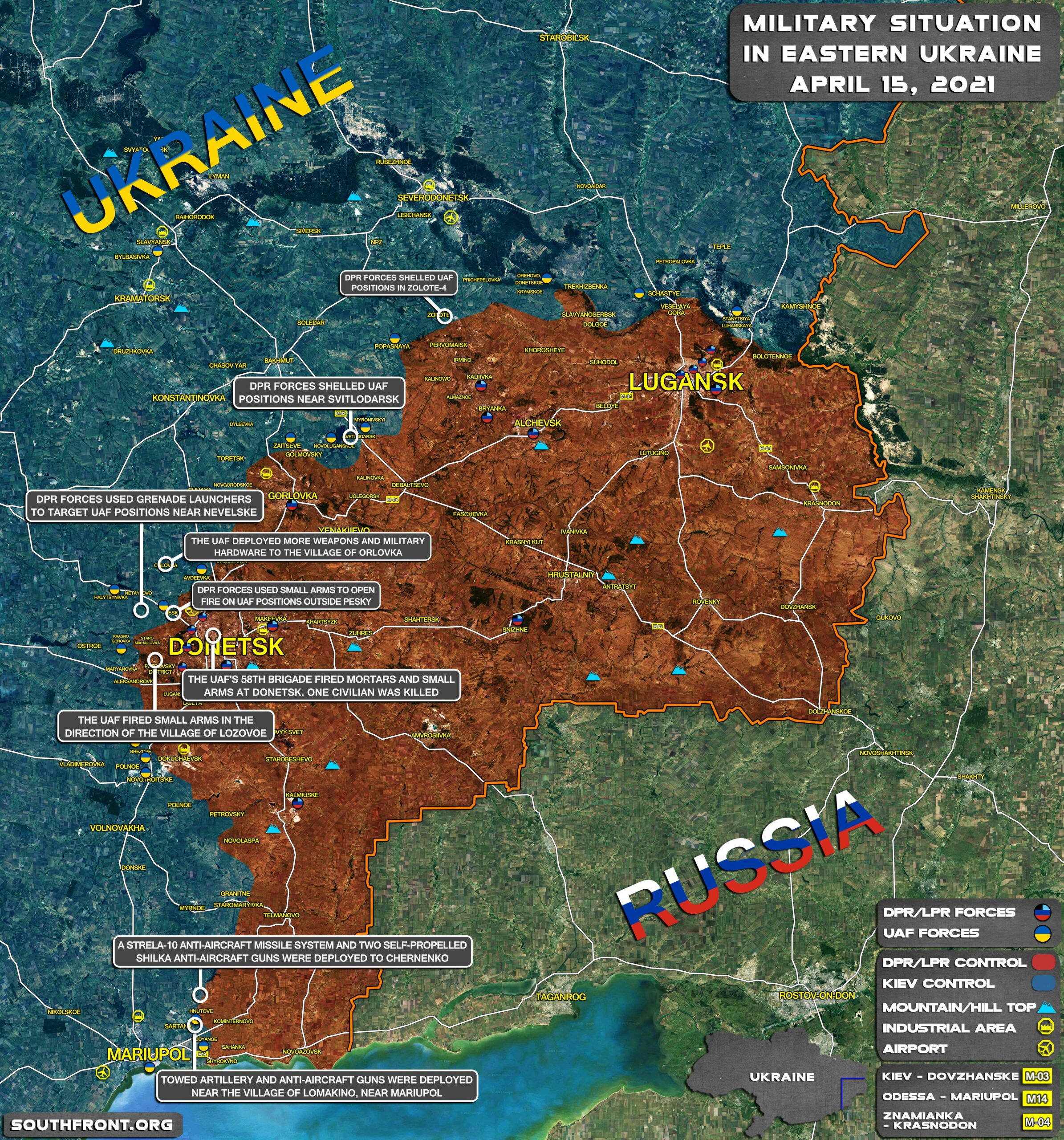 Military Situation In Donetsk People's Republic On April 15, 2021 (Map Update)