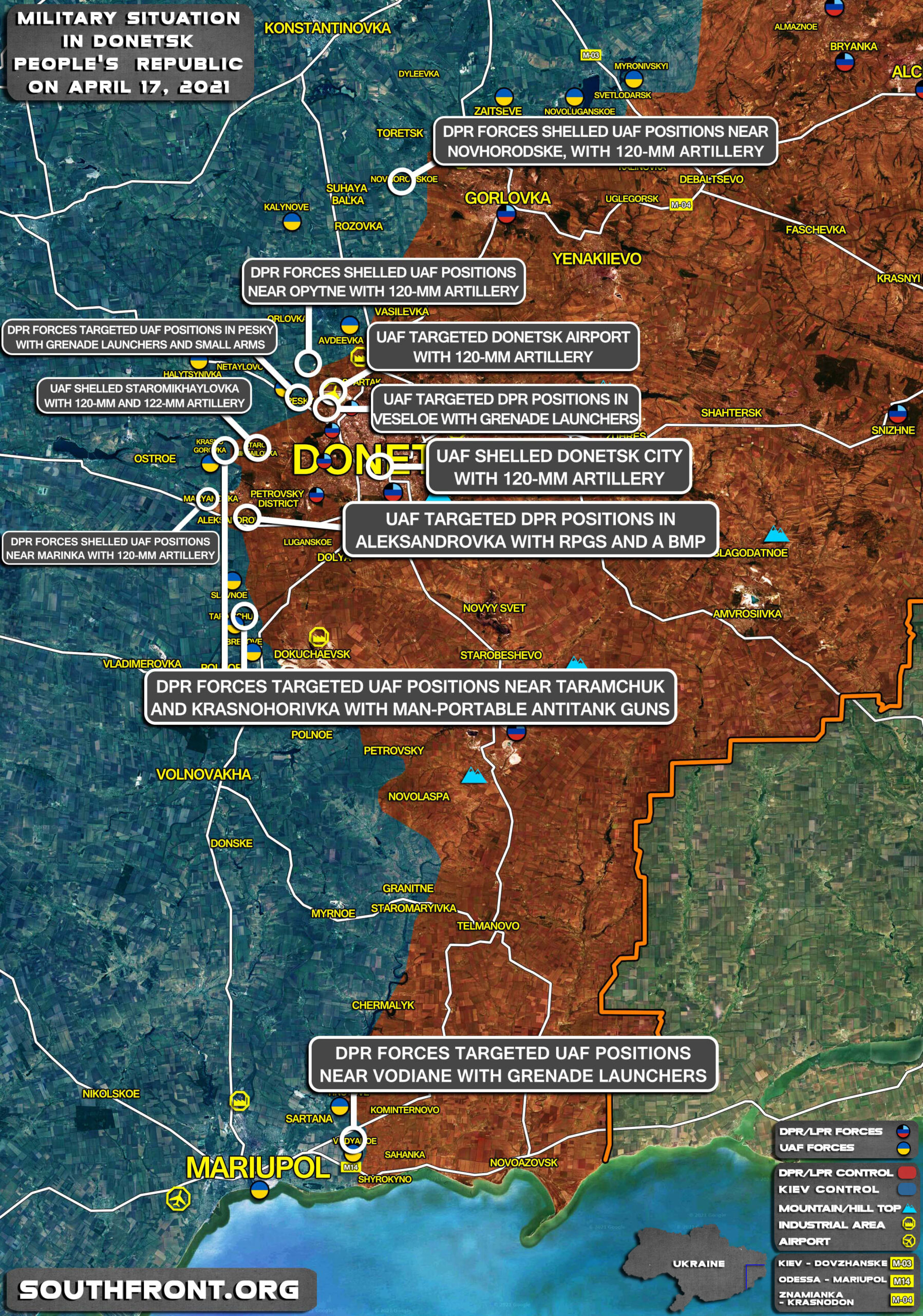 Military Situation In Donetsk People's Republic On April 17, 2021 (Map Update)