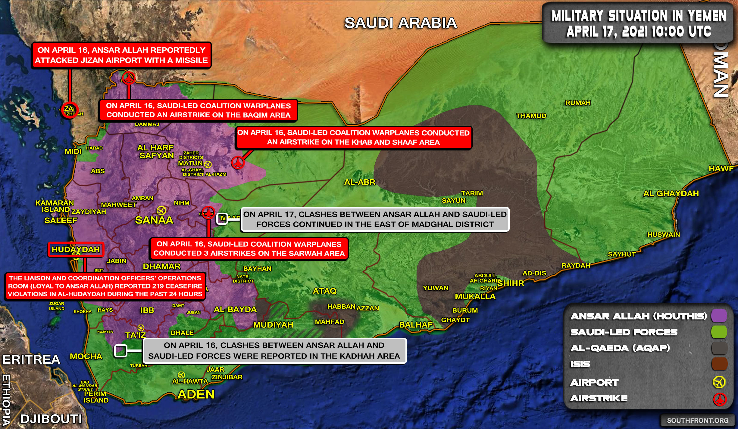 Military Situation In Yemen On April 17, 2021 (Map Update)