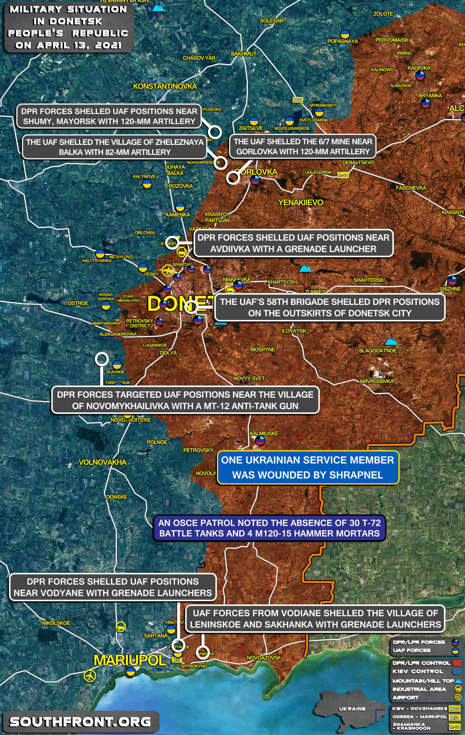 Military Situation In Donetsk People's Republic On April 18, 2021 (Map Update)