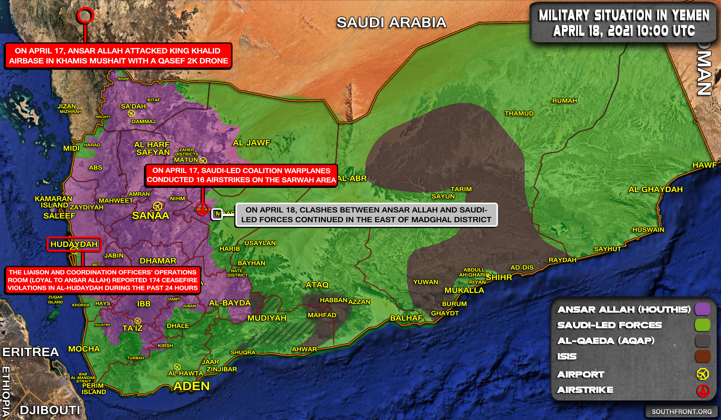 Military Situation In Yemen On April 18, 2021 (Map Update)