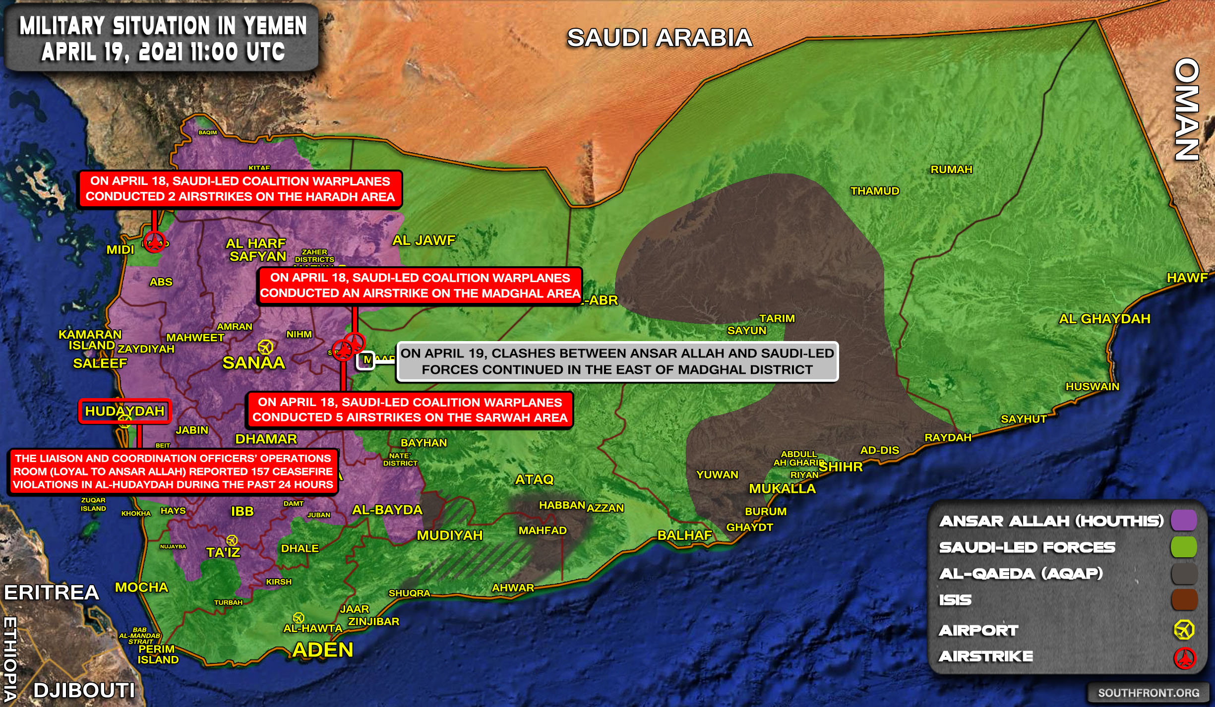 Military Situation In Yemen On April 19, 2021 (Map Update)