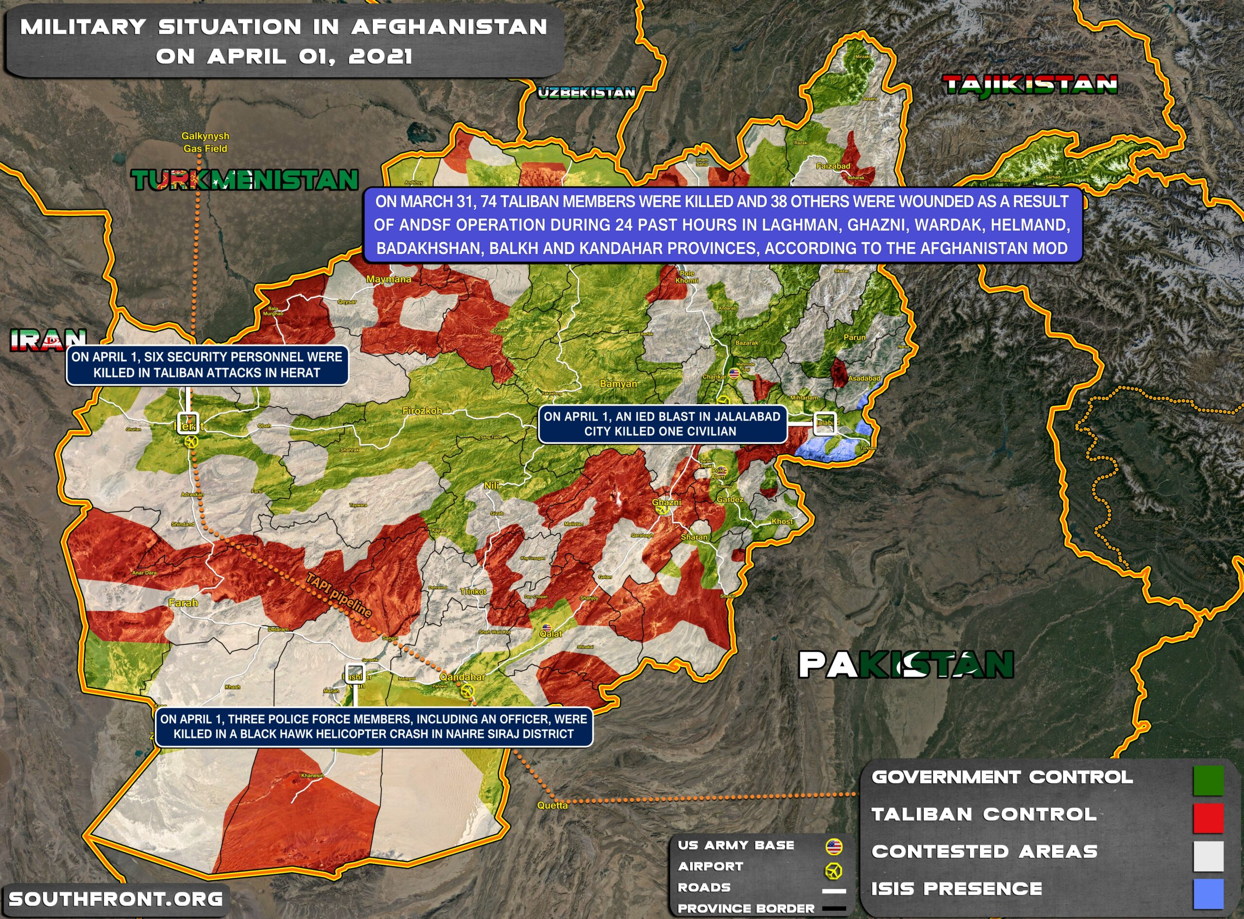 Military Situation In Afghanistan On April 1, 2021 (Map Update)