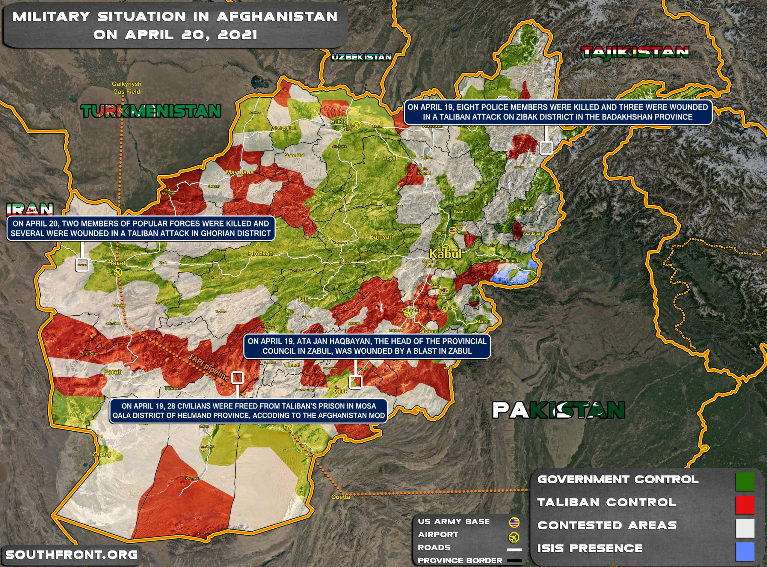 Military Situation In Afghanistan On April 20, 2021 (Map Update)