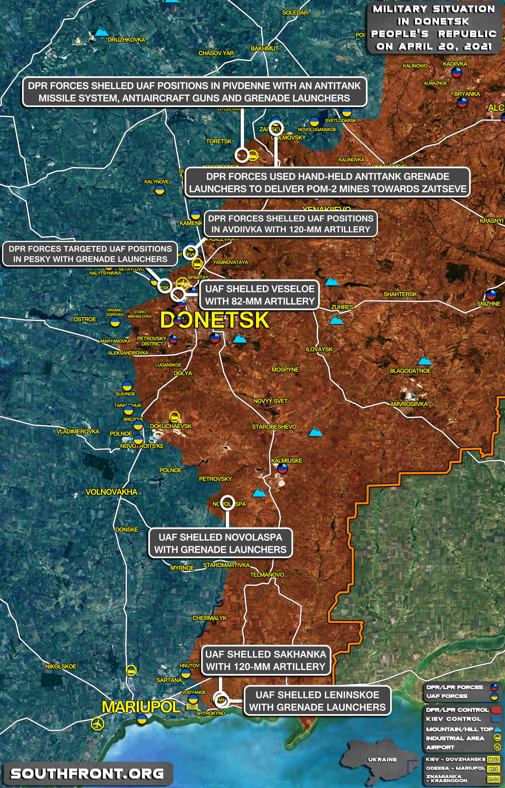 Military Situation In Donetsk People's Republic On April 20, 2021 (Map Update)