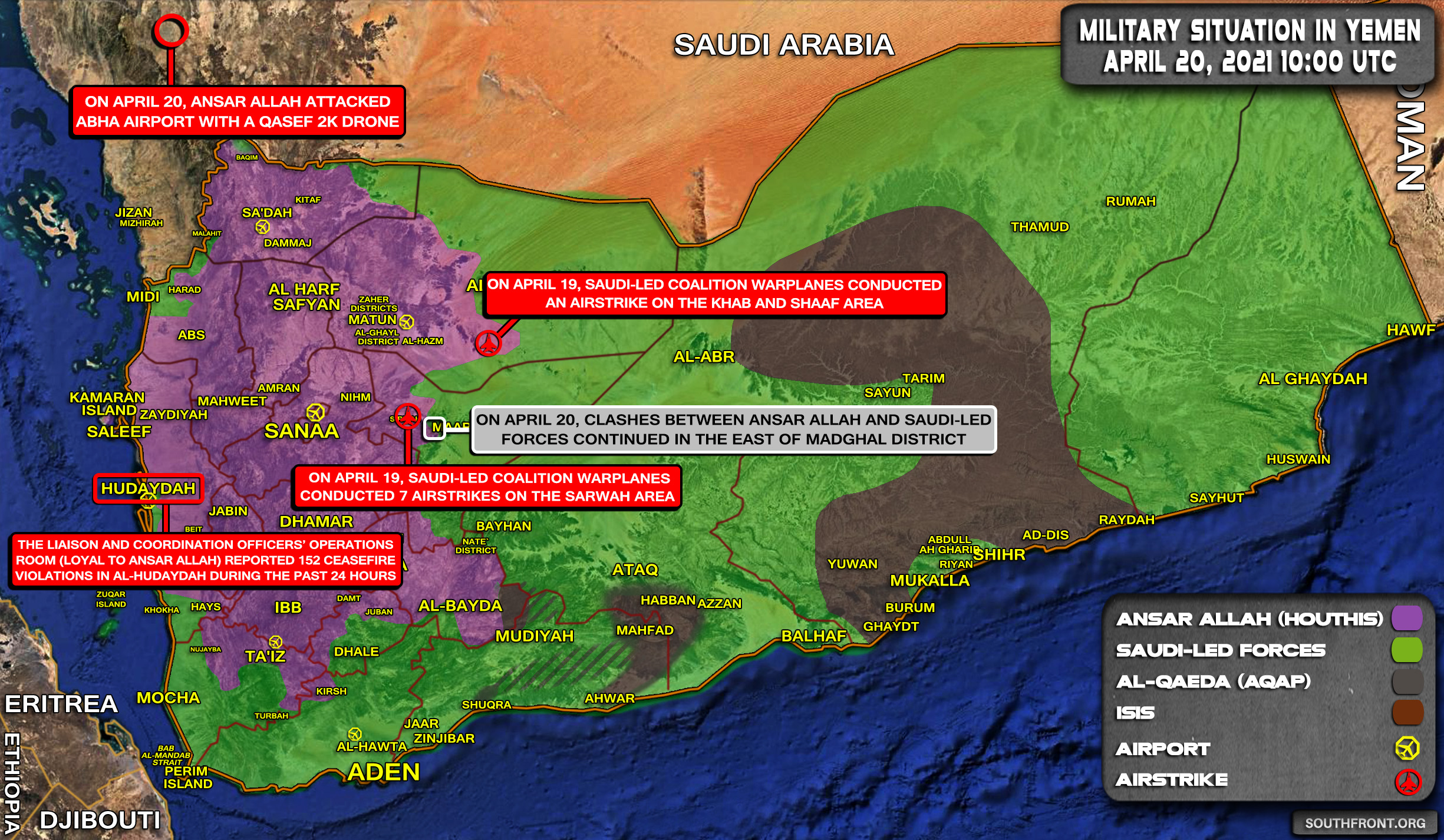 Military Situation In Yemen On April 20, 2021 (Map Update)