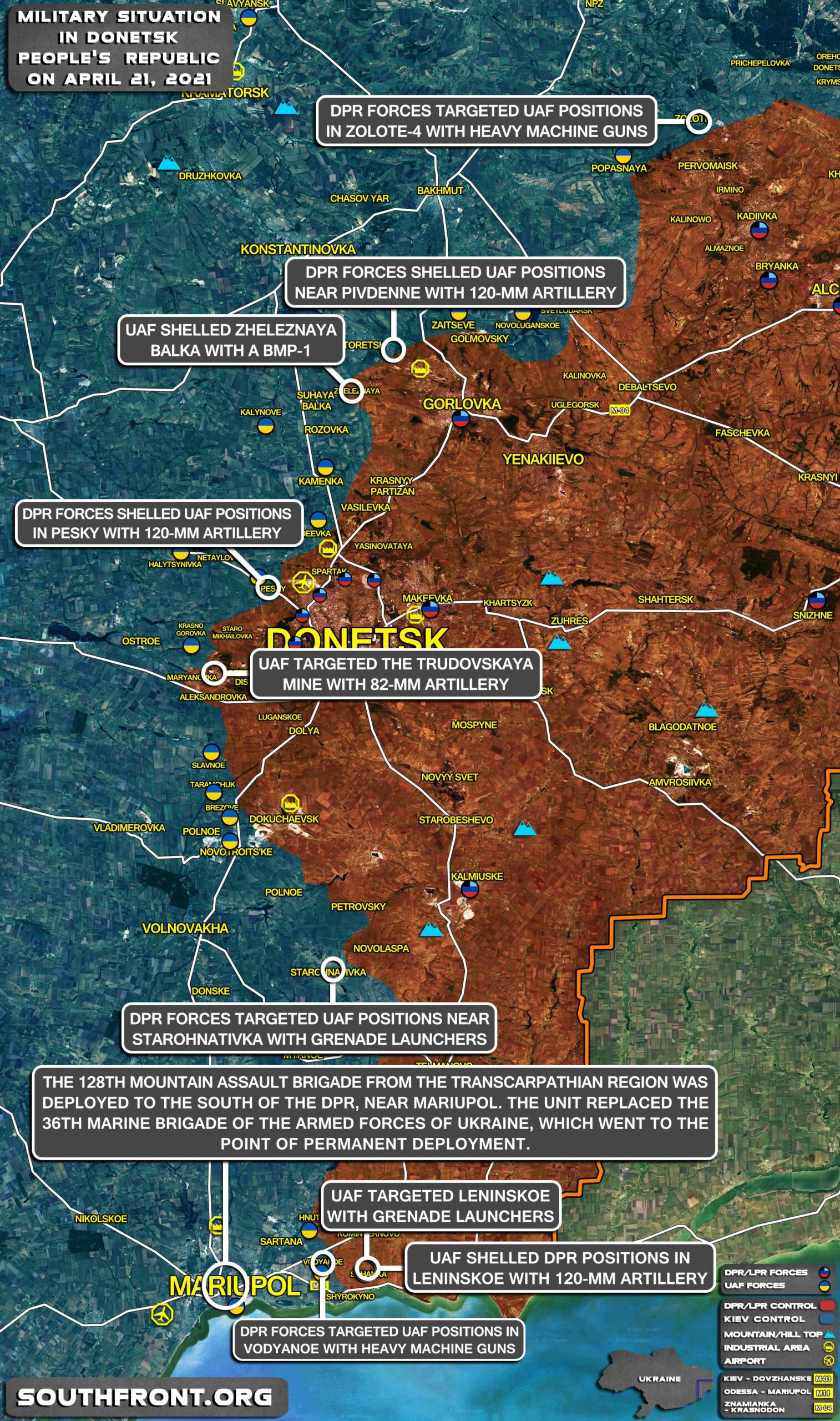 Military Situation In Donetsk People's Republic On April 21, 2021 (Map Update)