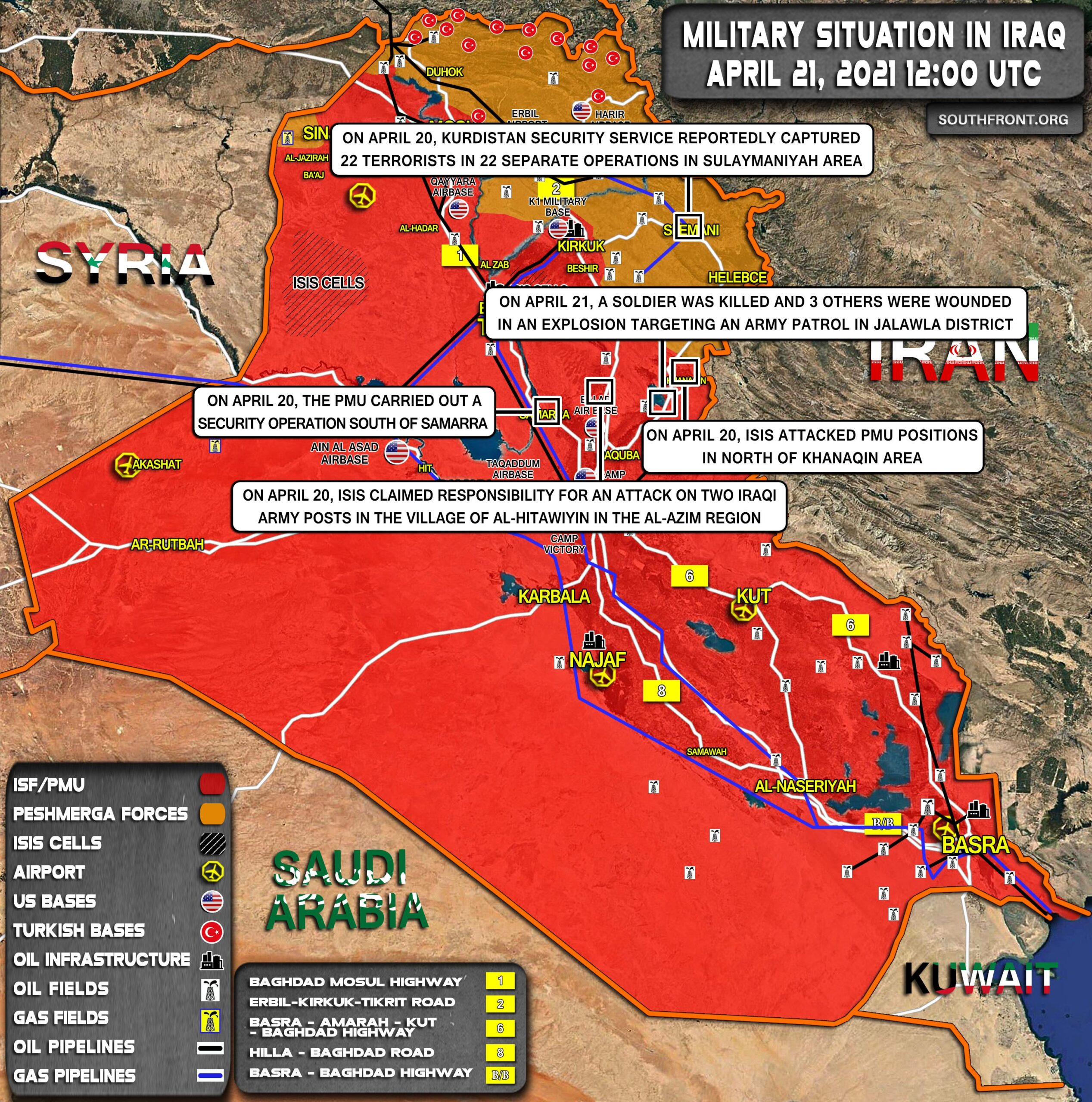 Military Situation In Iraq On April 21, 2021 (Map Update)