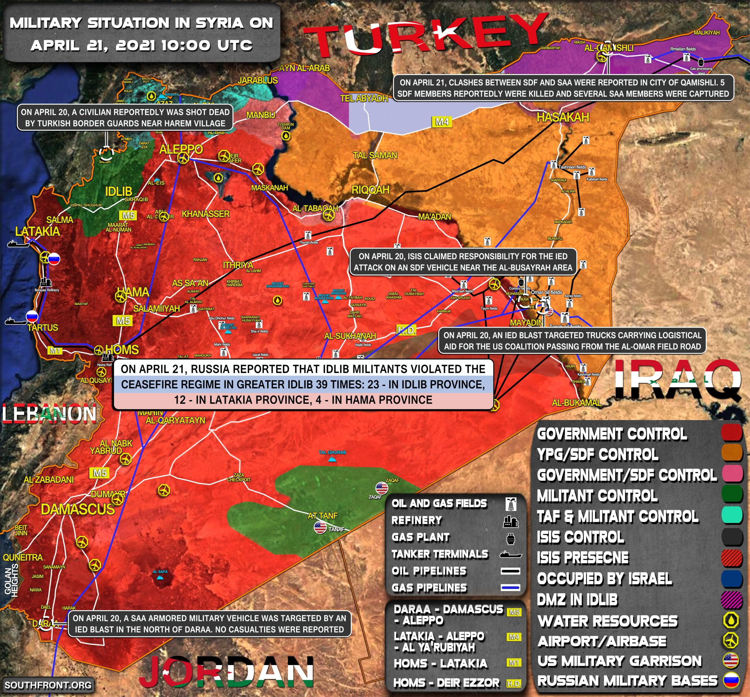 Military Situation In Syria On April 21, 2021 (Map Update)