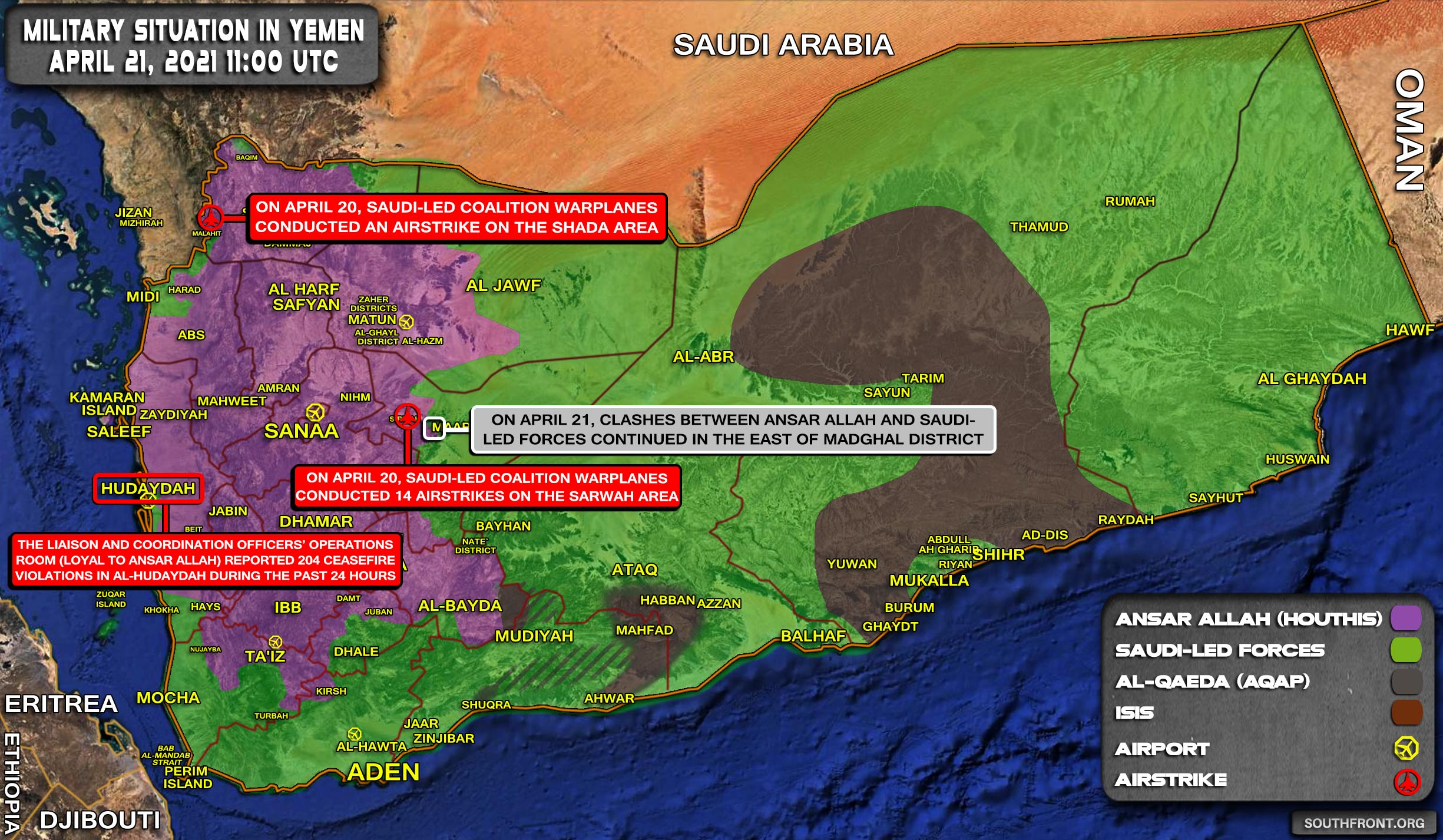 Military Situation In Yemen On April 21, 2021 (Map Update)