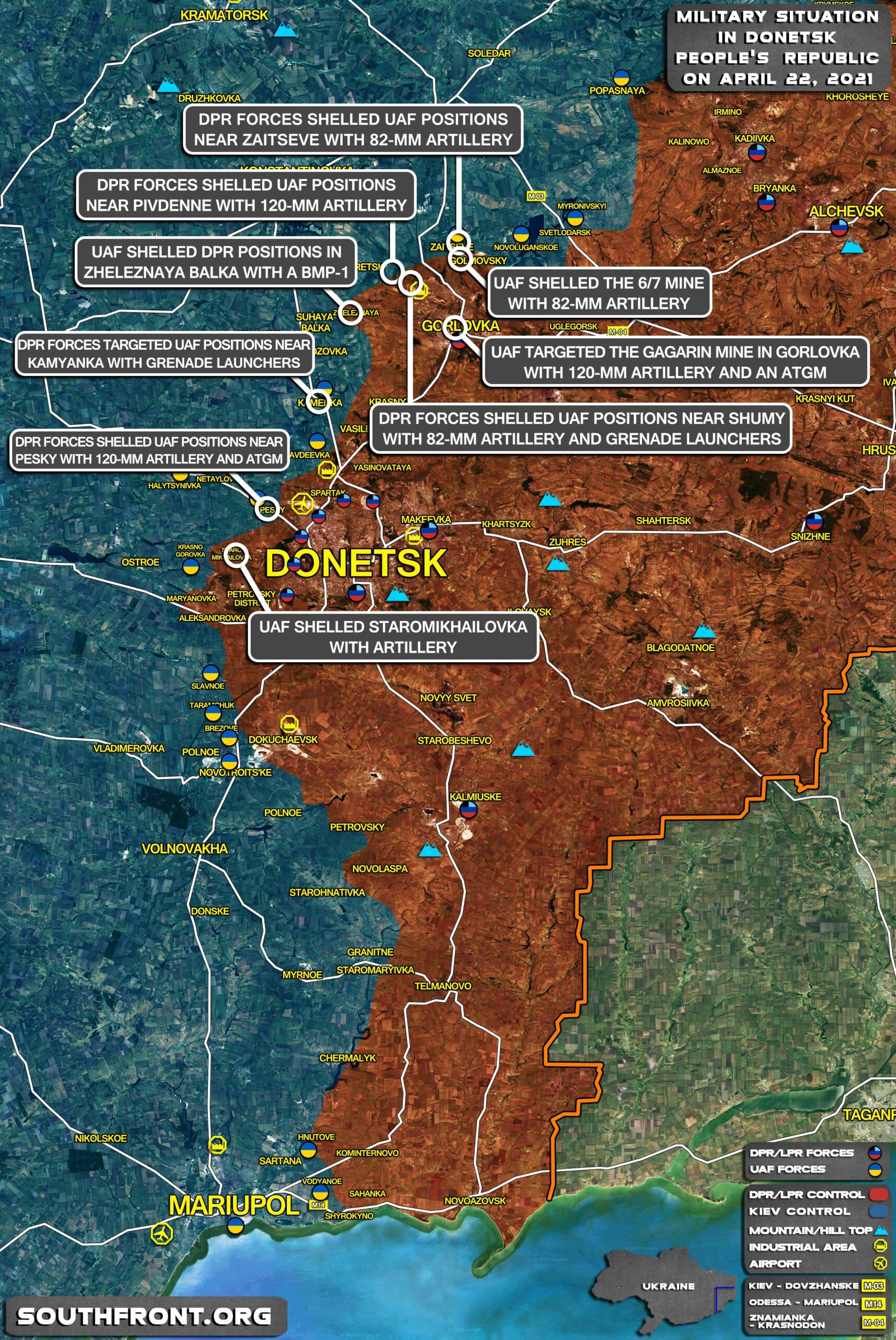 Military Situation In Donetsk People's Republic On April 22, 2021 (Map Update)
