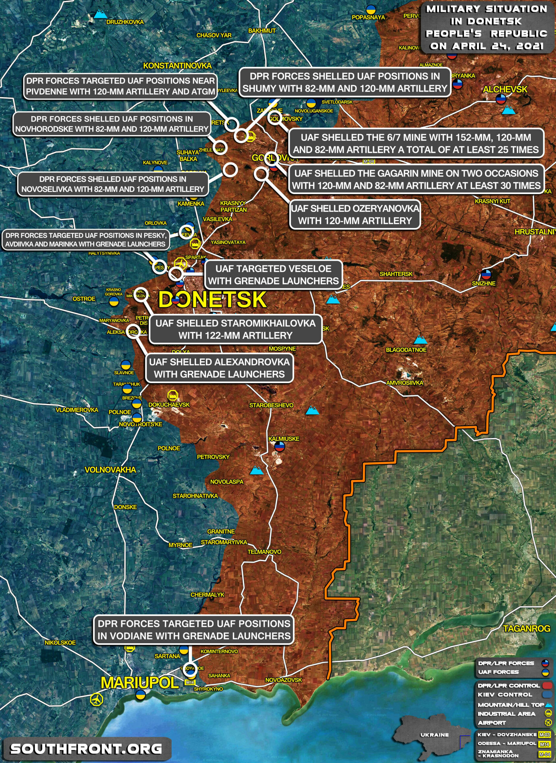 Military Situation In Donetsk People's Republic On April 24, 2021 (Map Update)