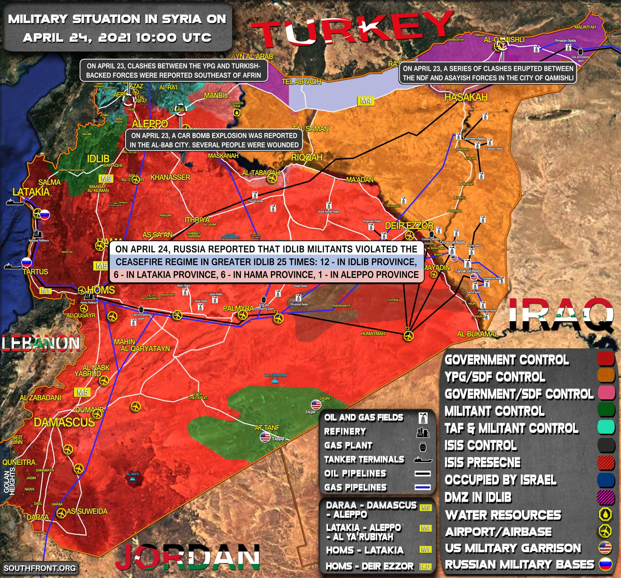 Military Situation In Syria On April 24, 2021 (Map Update)
