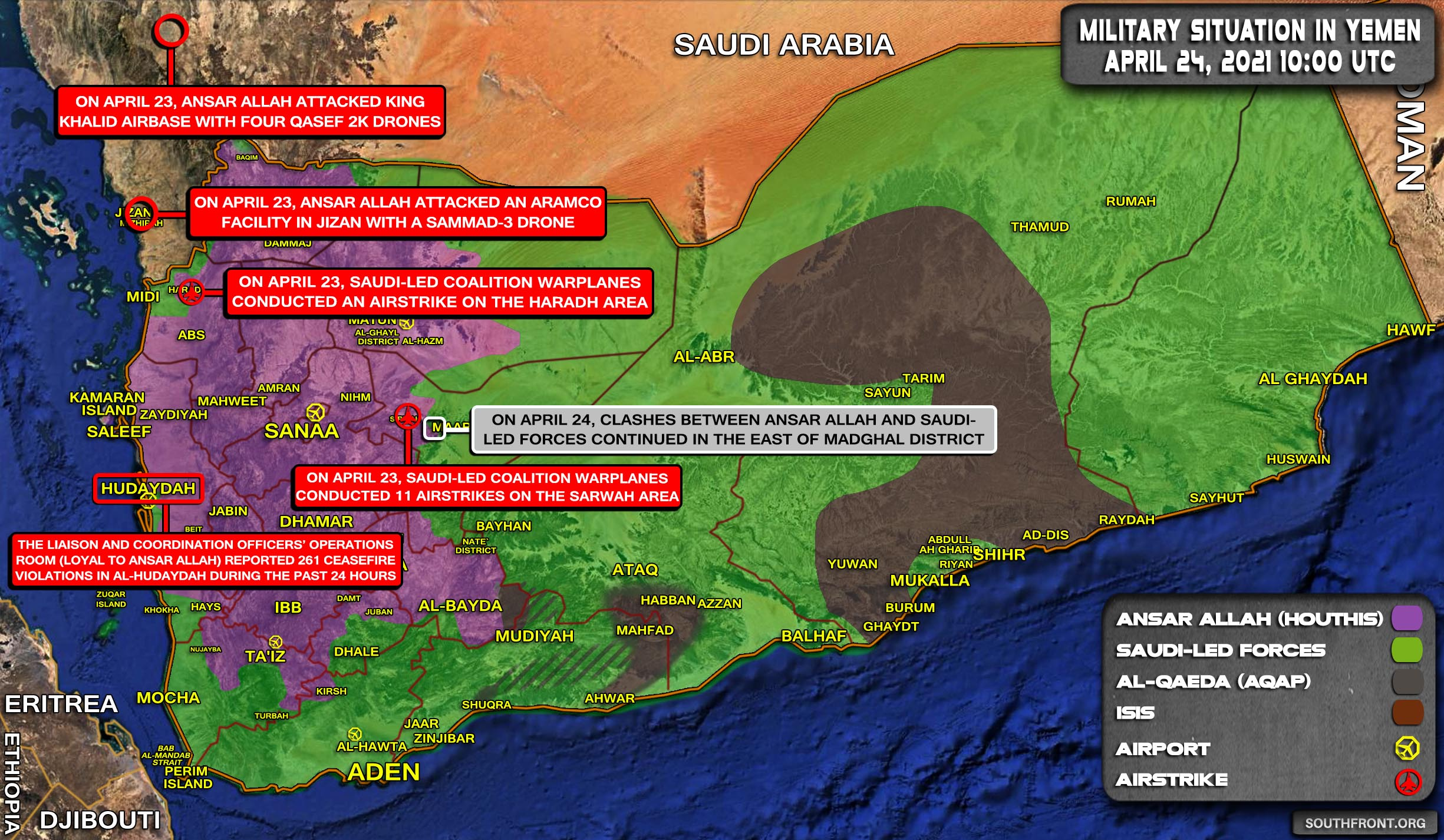 Military Situation In Yemen On April 24, 2021 (Map Update)