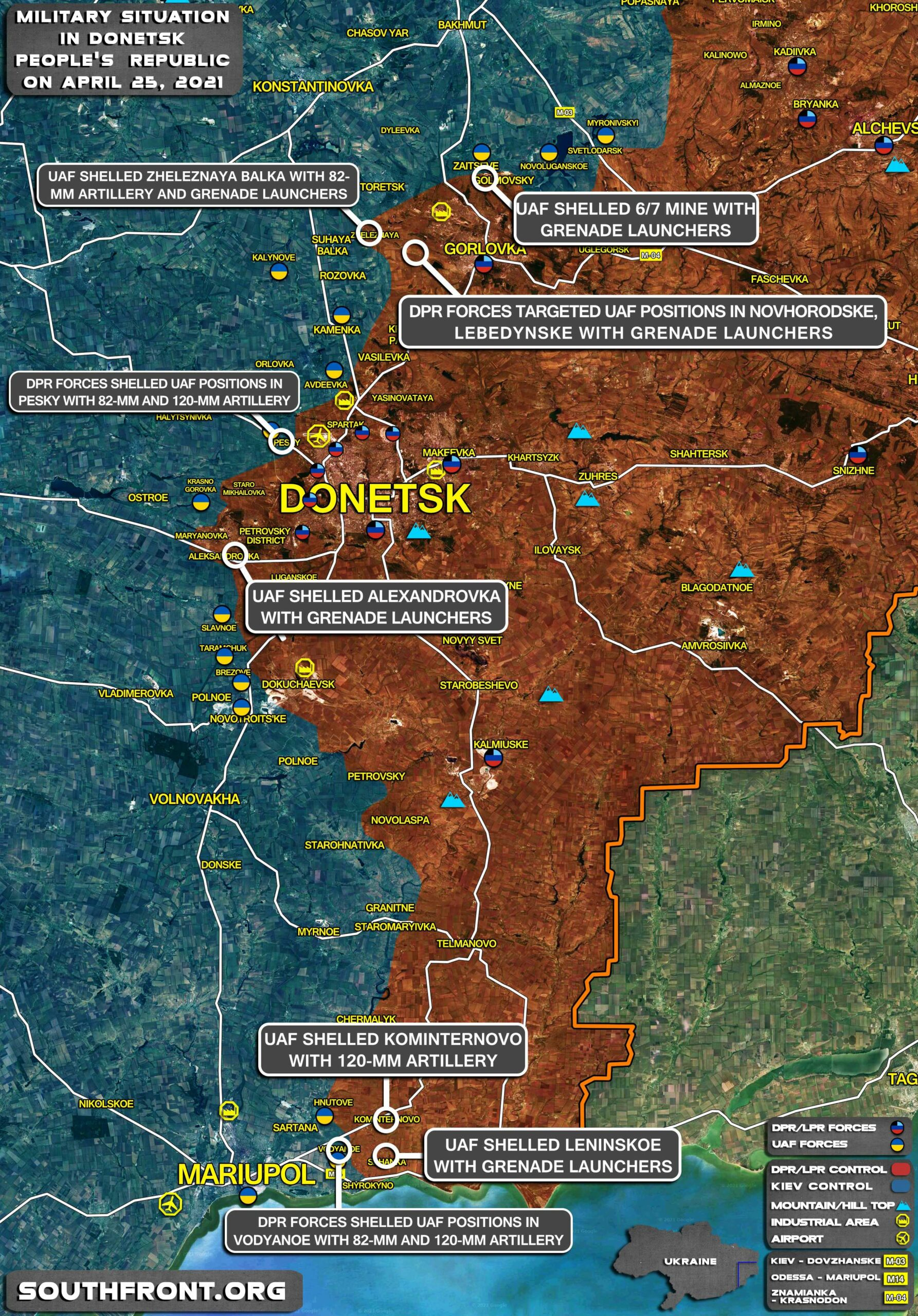 Military Situation In Donetsk People's Republic On April 25, 2021 (Map Update)