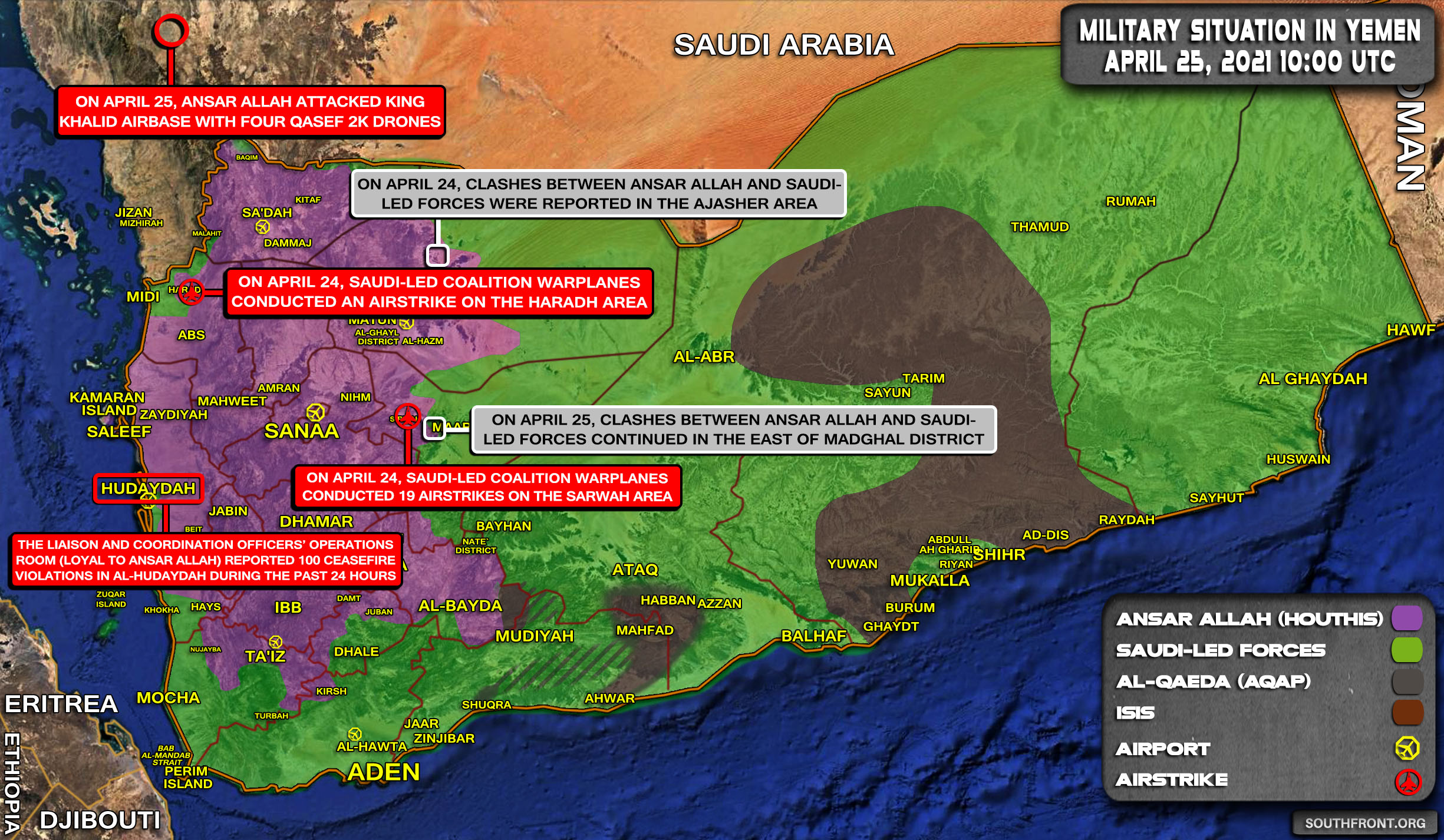 Military Situation In Yemen On April 25, 2021 (Map Update)