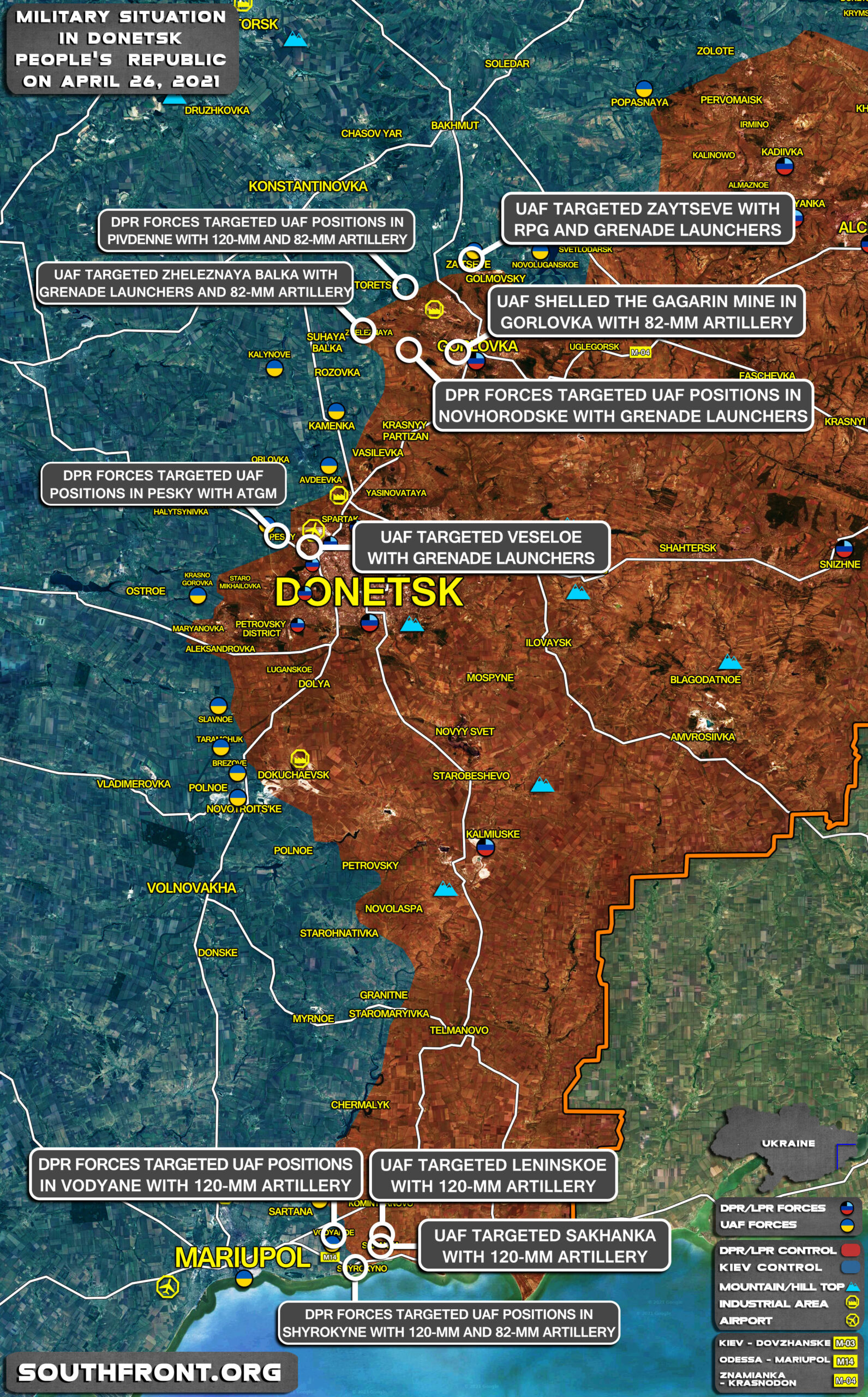 Military Situation In Donetsk People's Republic On April 26, 2021 (Map Update)