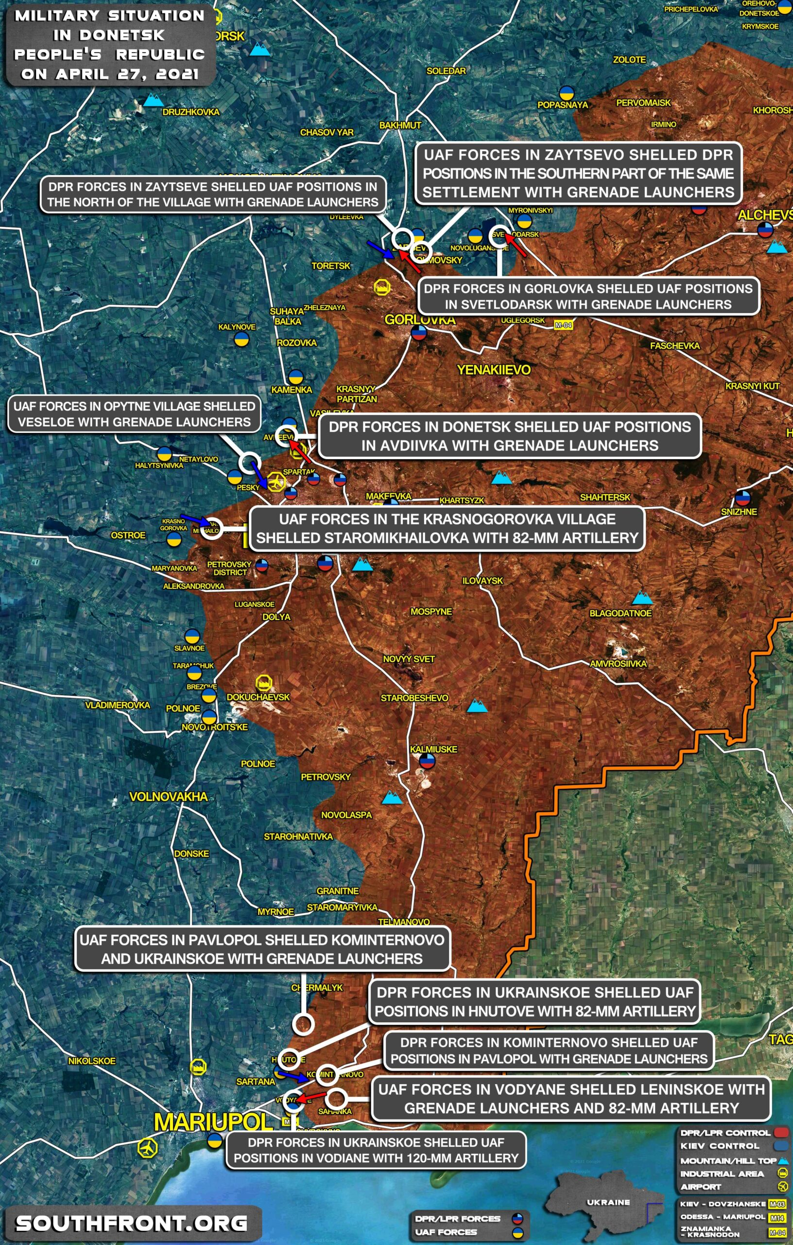 Military Situation In Donetsk People's Republic On April 27, 2021 (Map Update)