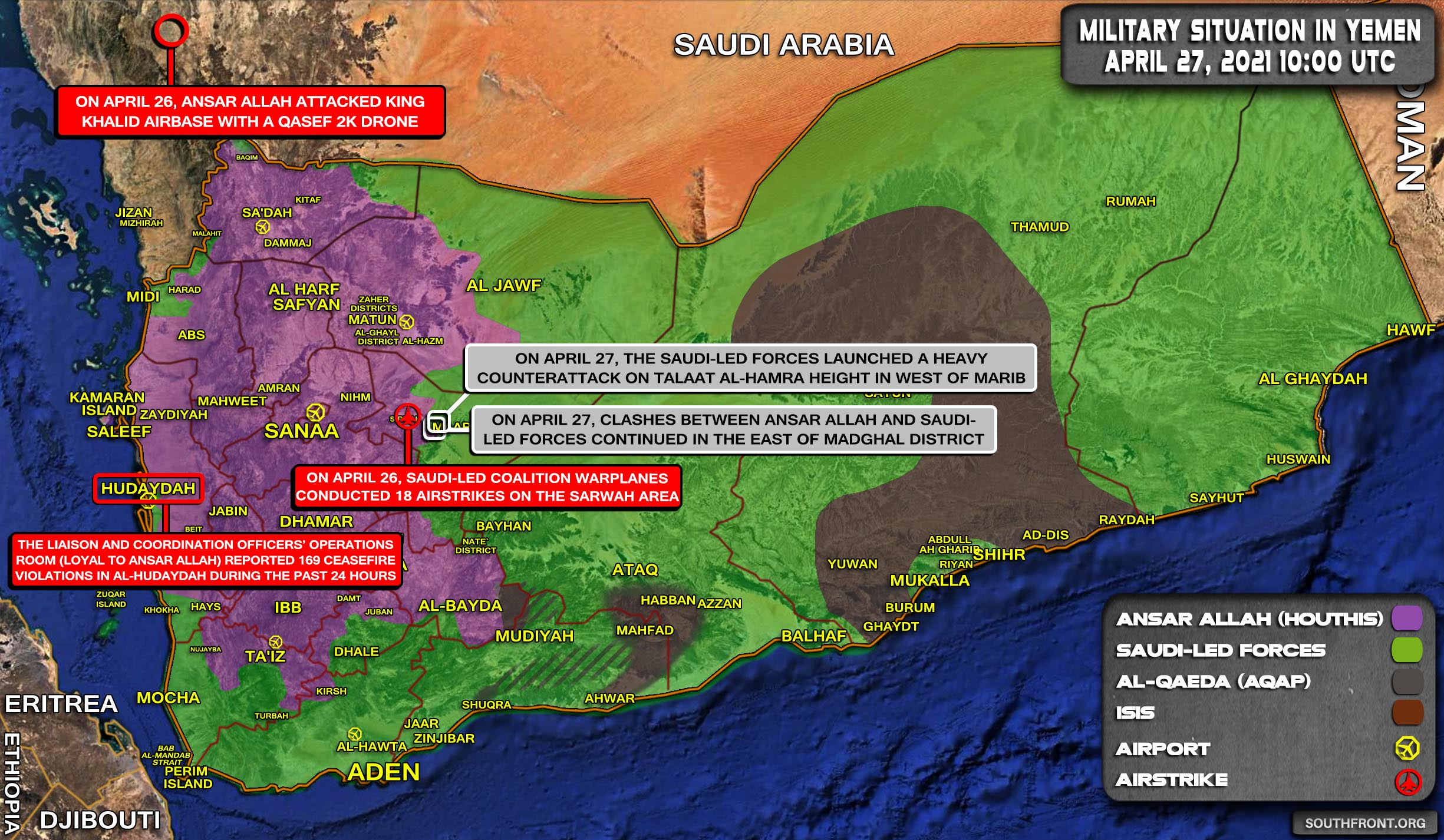 Military Situation In Yemen On April 27, 2021 (Map Update)