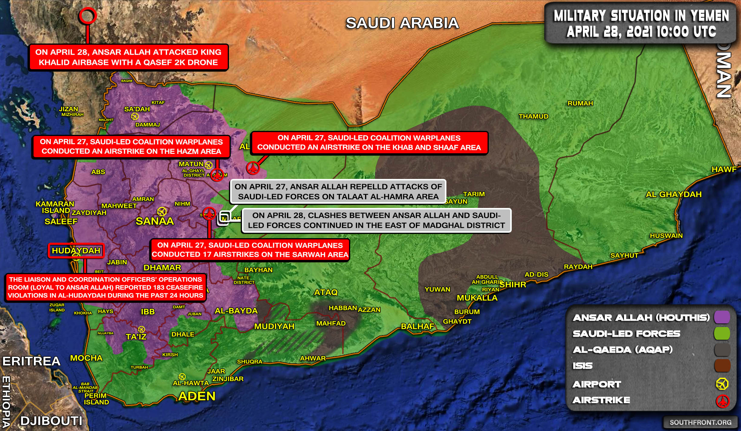 Military Situation In Yemen On April 28, 2021 (Map Update)