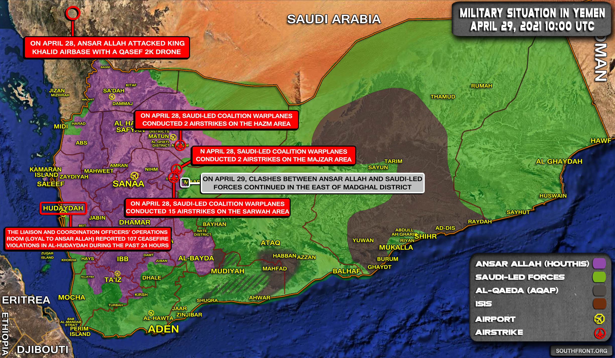 Military Situation In Yemen On April 29 (Map Update)