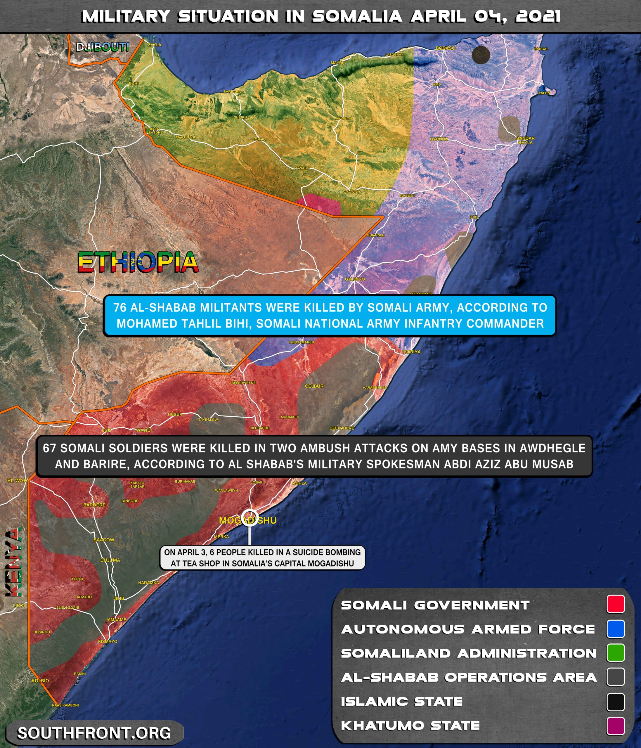 Military Situation In Somalia On April 4, 2021 (Map Update)