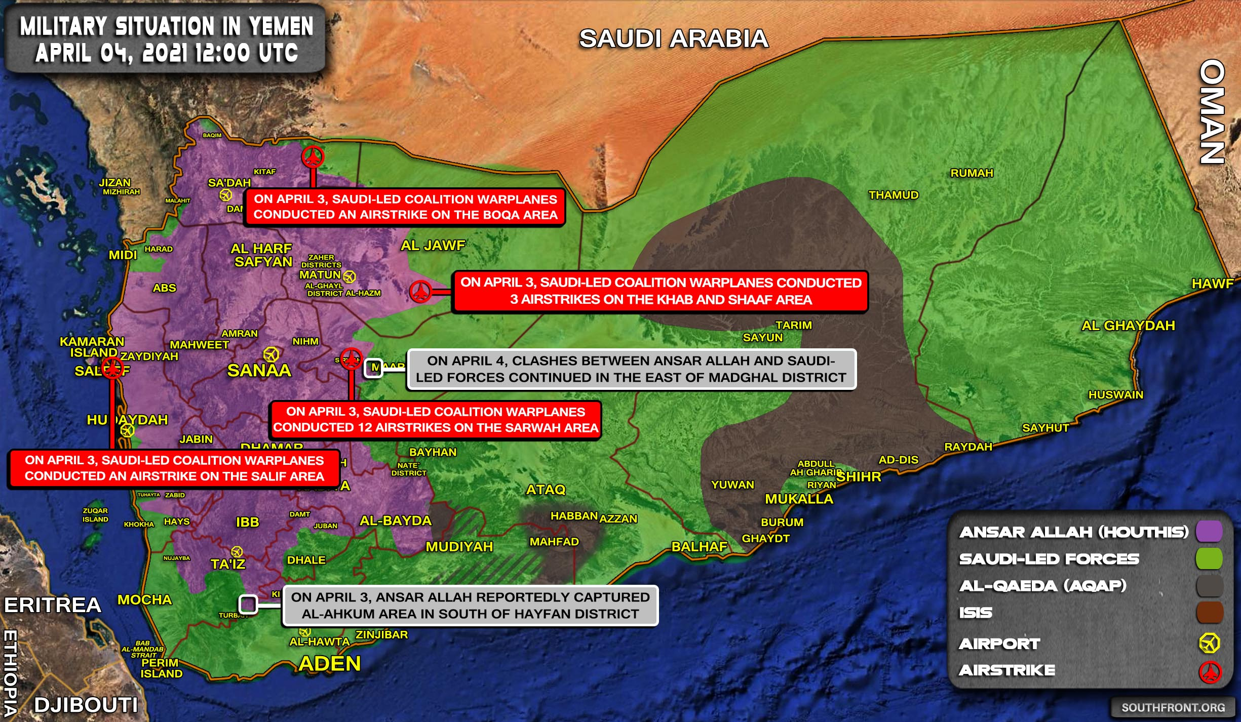 Military Situation In Yemen On April 4, 2021 (Map Update)